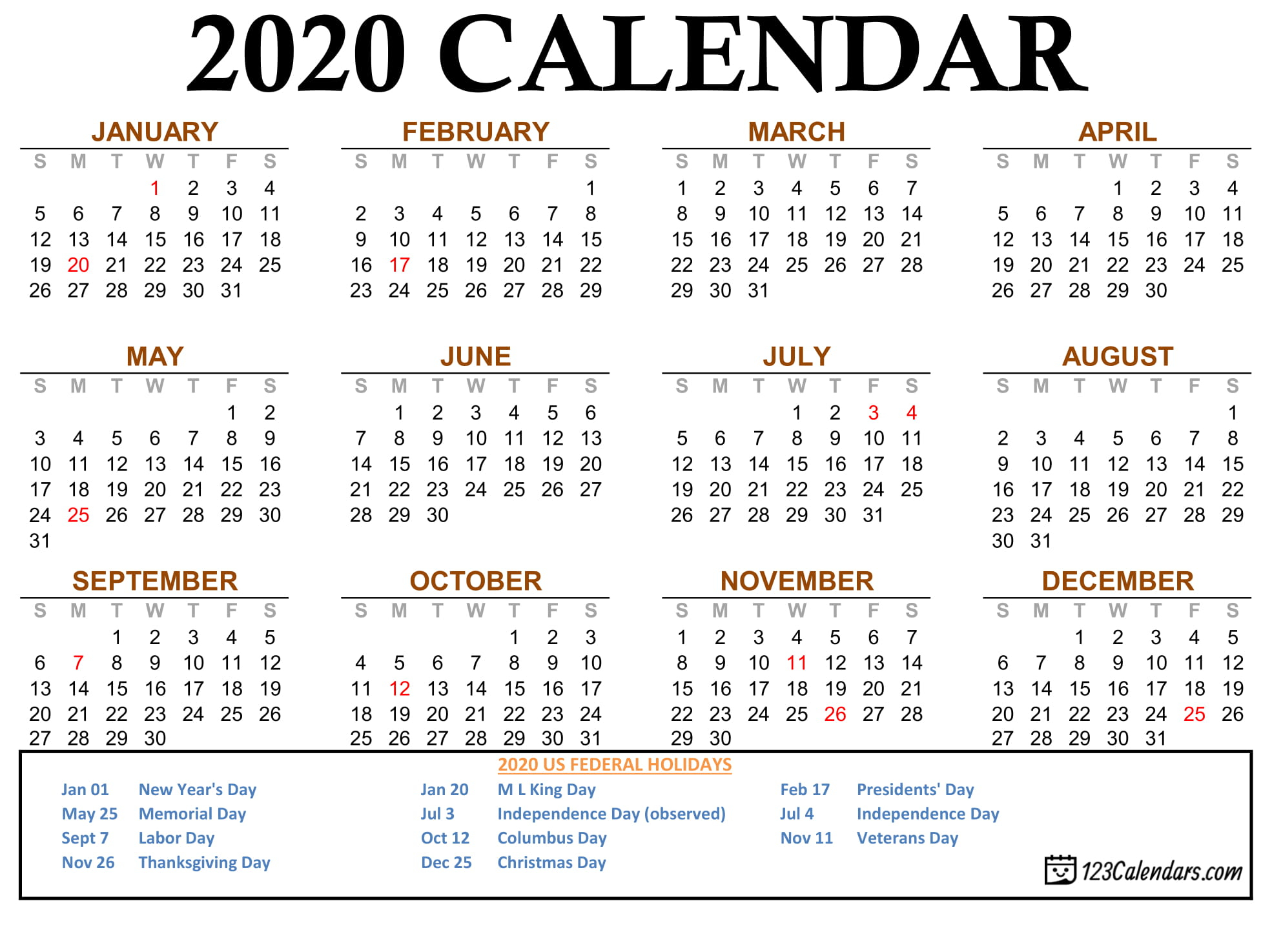 Free Printable 2020 Calendar | 123Calendars Throughout Printable Calender With Days O The Year