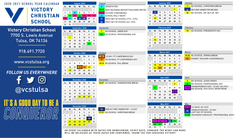 General Calendar 2020 2021   Victory Christian School Inside Academic Calendar 2021 Tulsa University