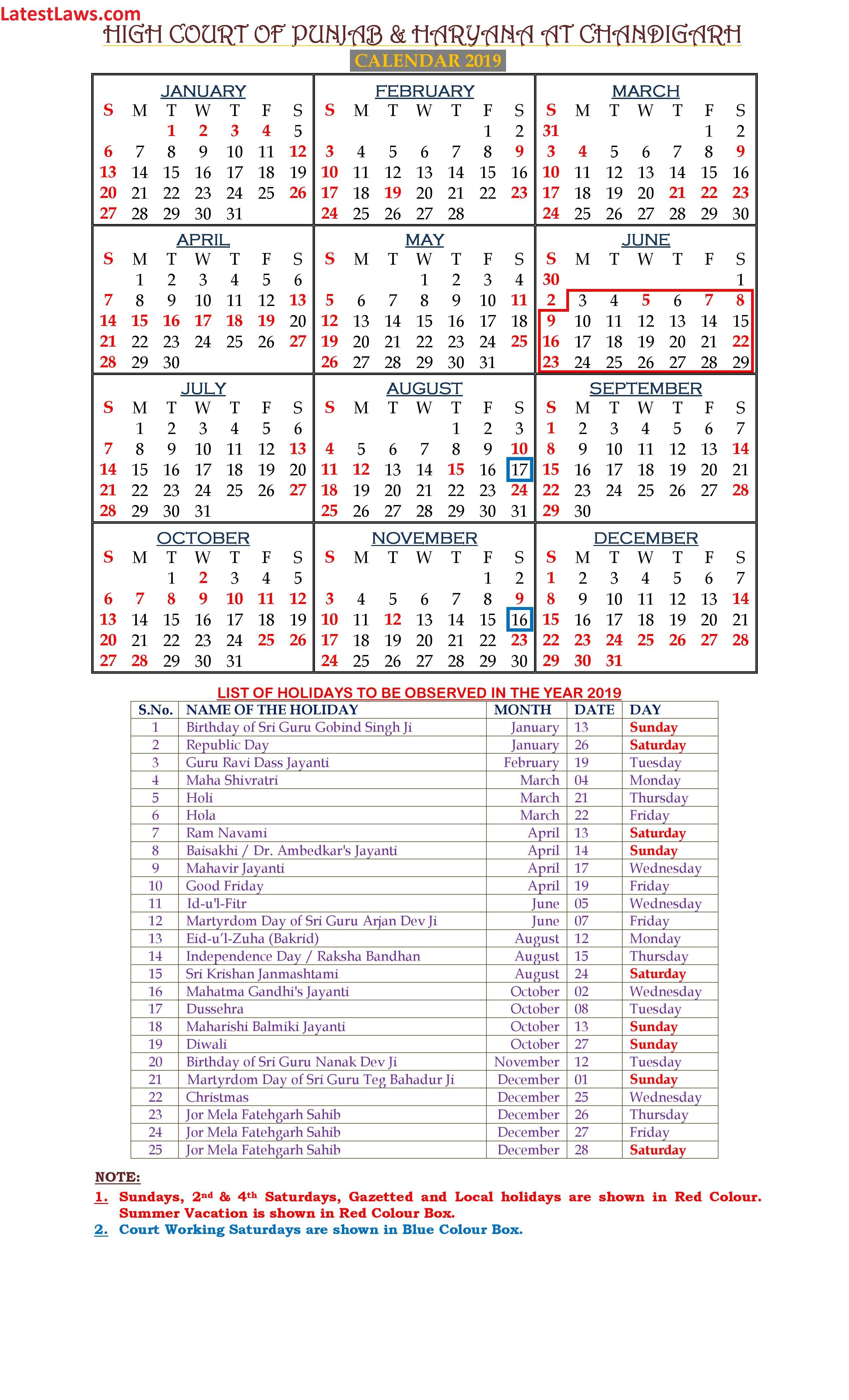 Haryana And Punjab High Court Calendar 2019 Regarding Lex Dist 1 Calendar