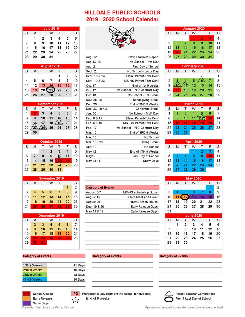 Hilldale Public Schools - **revised**2019-2020 School with Academic Calendar 2021 Tulsa University