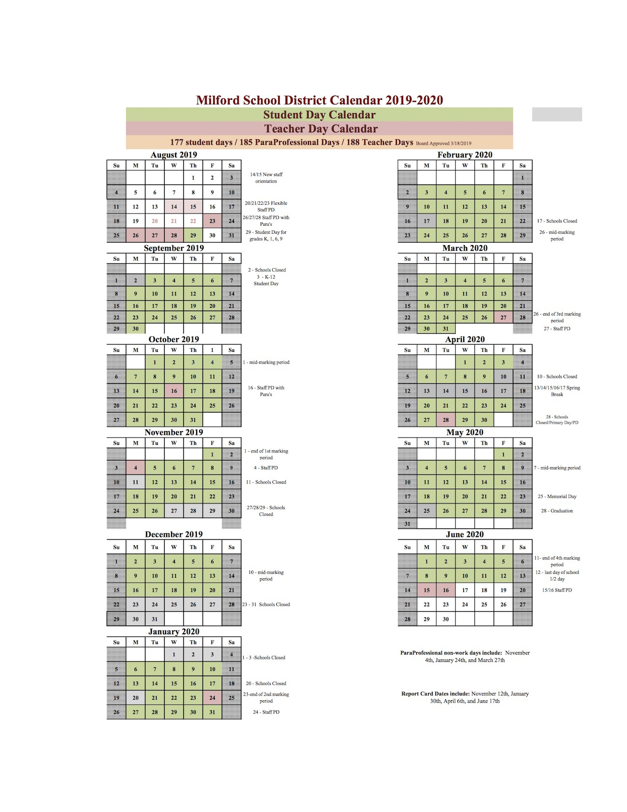 Home - Academic Calendar - Milford School District Regarding Delaware State Univeristy Calander