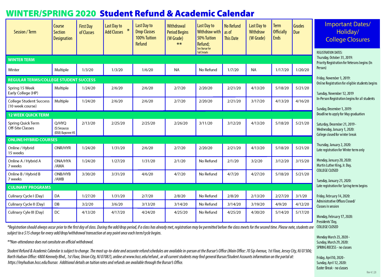 Hudson County Community College Pertaining To Nassau Community College Academic Calendar Spring 2020