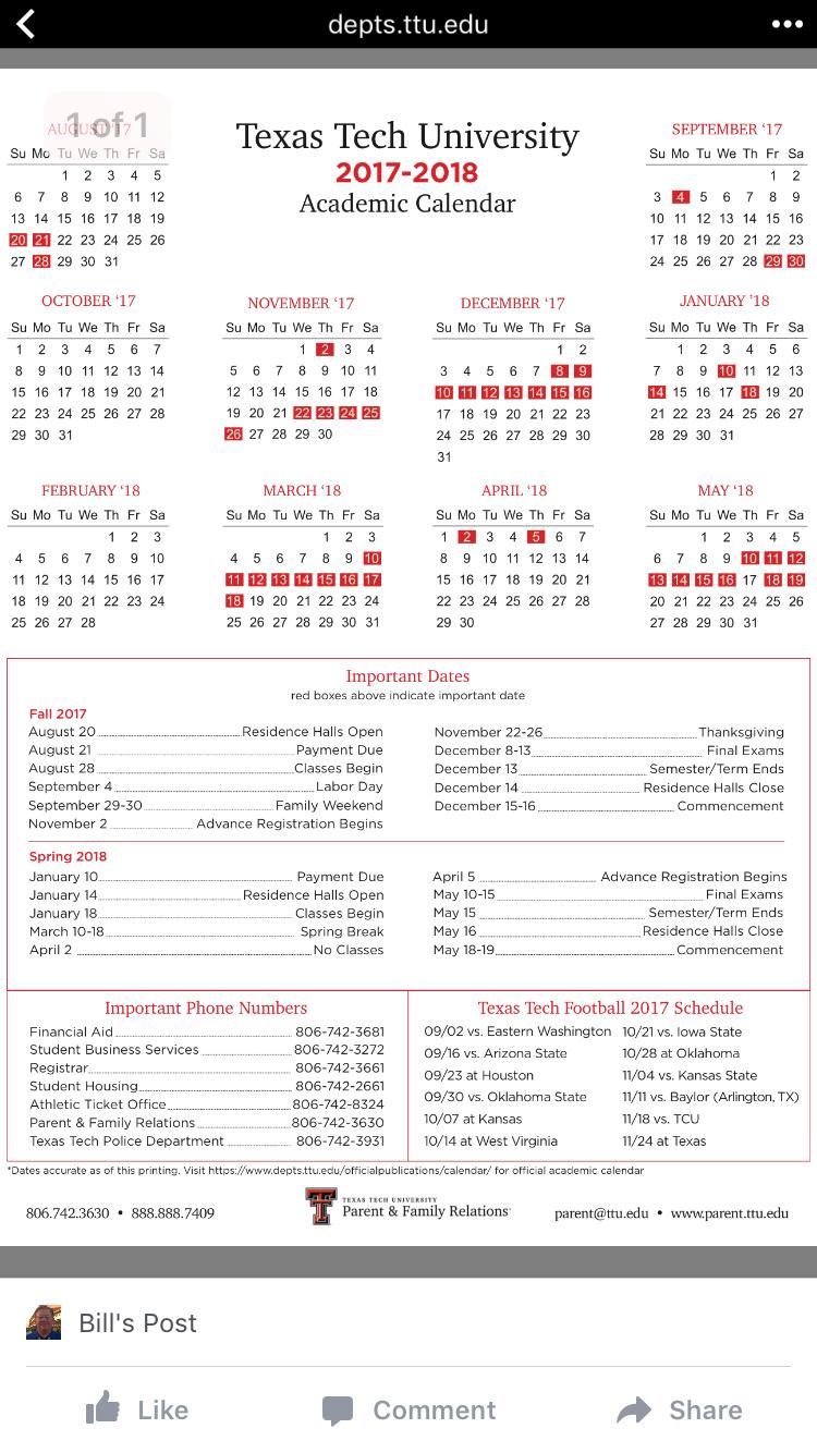 Imagepam Paladino On Tx Tech | Academic Calendar, Texas Within Texas Tech University Semester Schedule