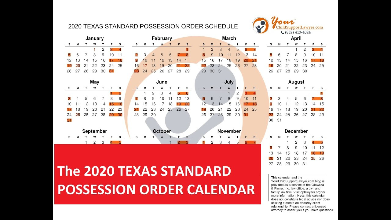 Introducing The 2020 Texas Standard Possession Order With Regard To Attorney General Texas Calender
