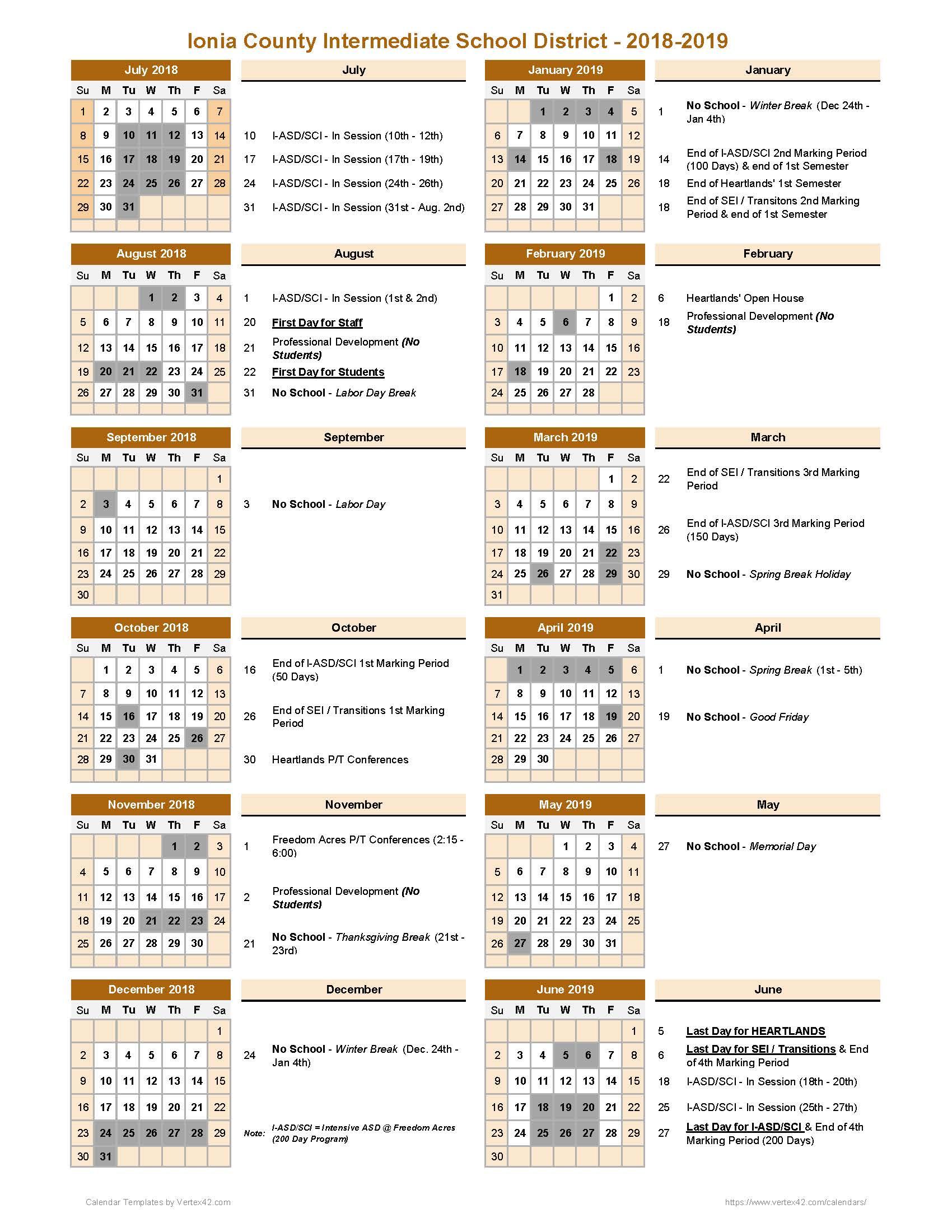 Ionia County Intermediate School District – 2018 – 2019 With Regard To Grand Ledge School Calendar 2021