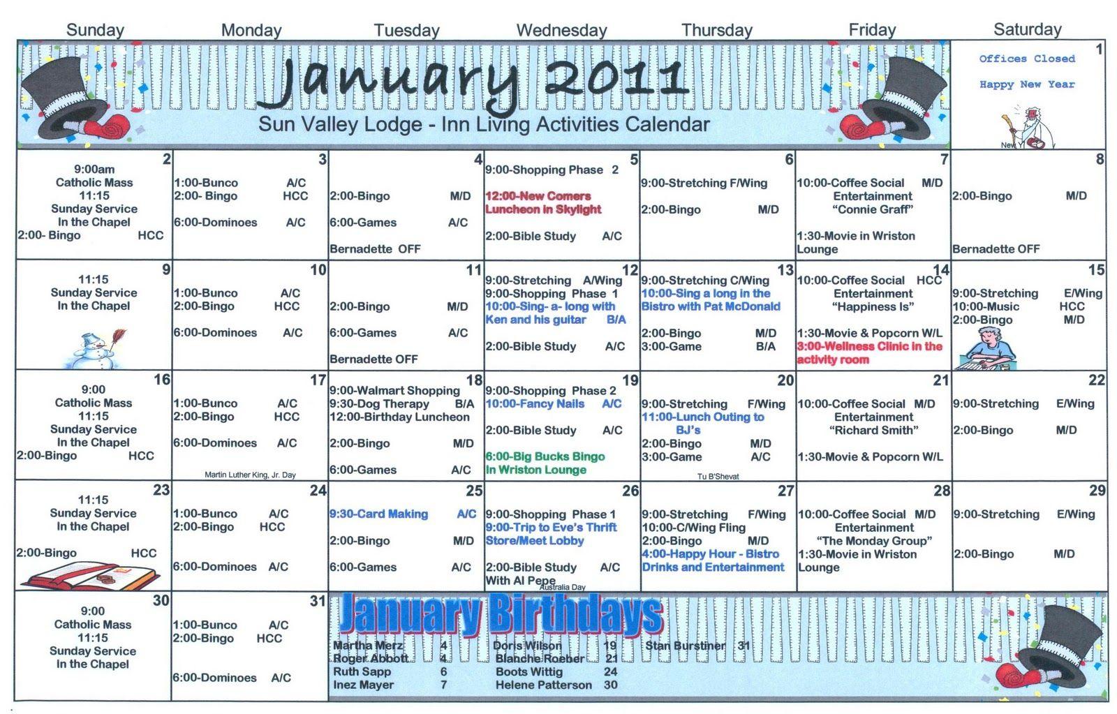 January Assisted Living Activity Calendar. Click On Calendar for Assisted Living Activity Calendar Ideas