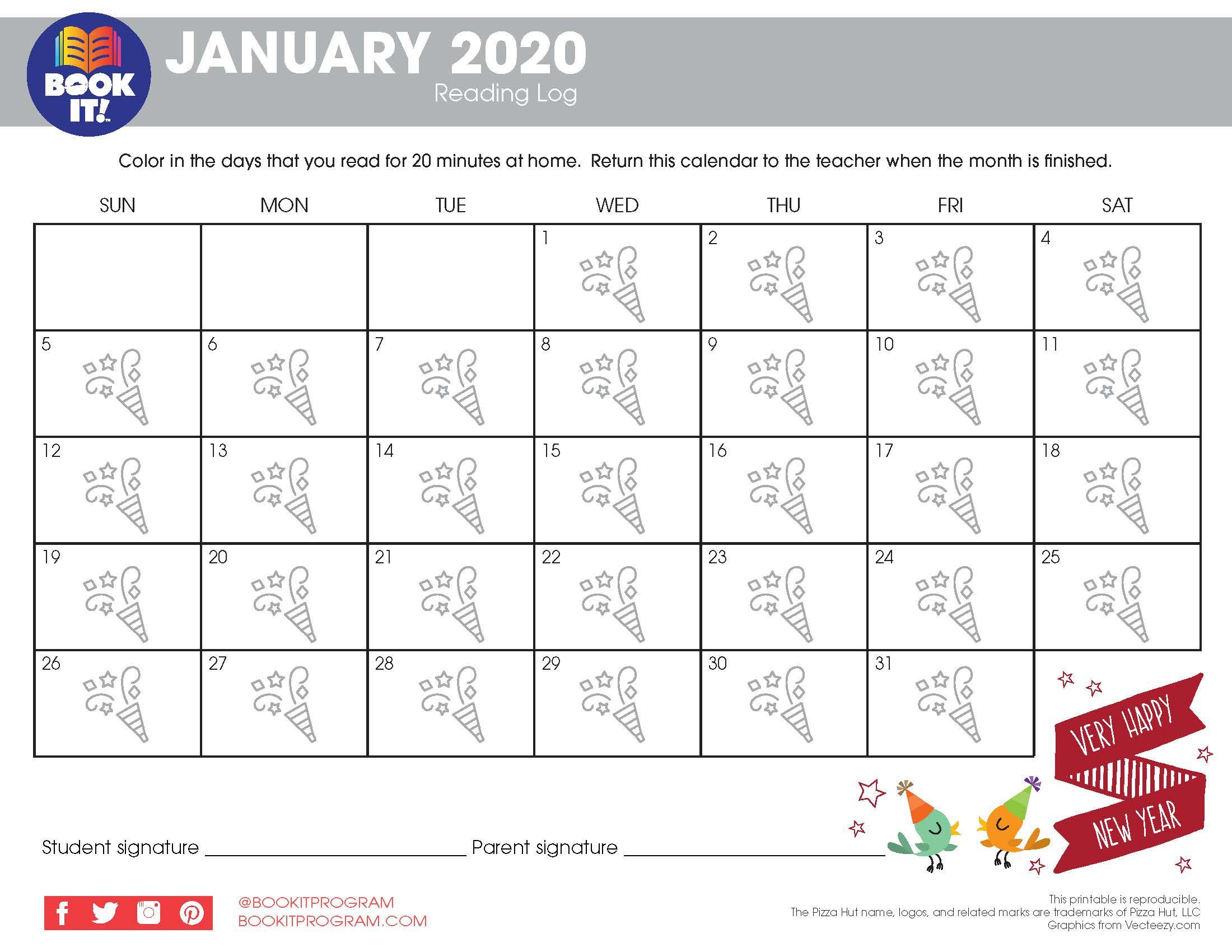 January Tracking Calendar Holiday | The Pizza Hut Book It With Pizza Hut Book It Calendar