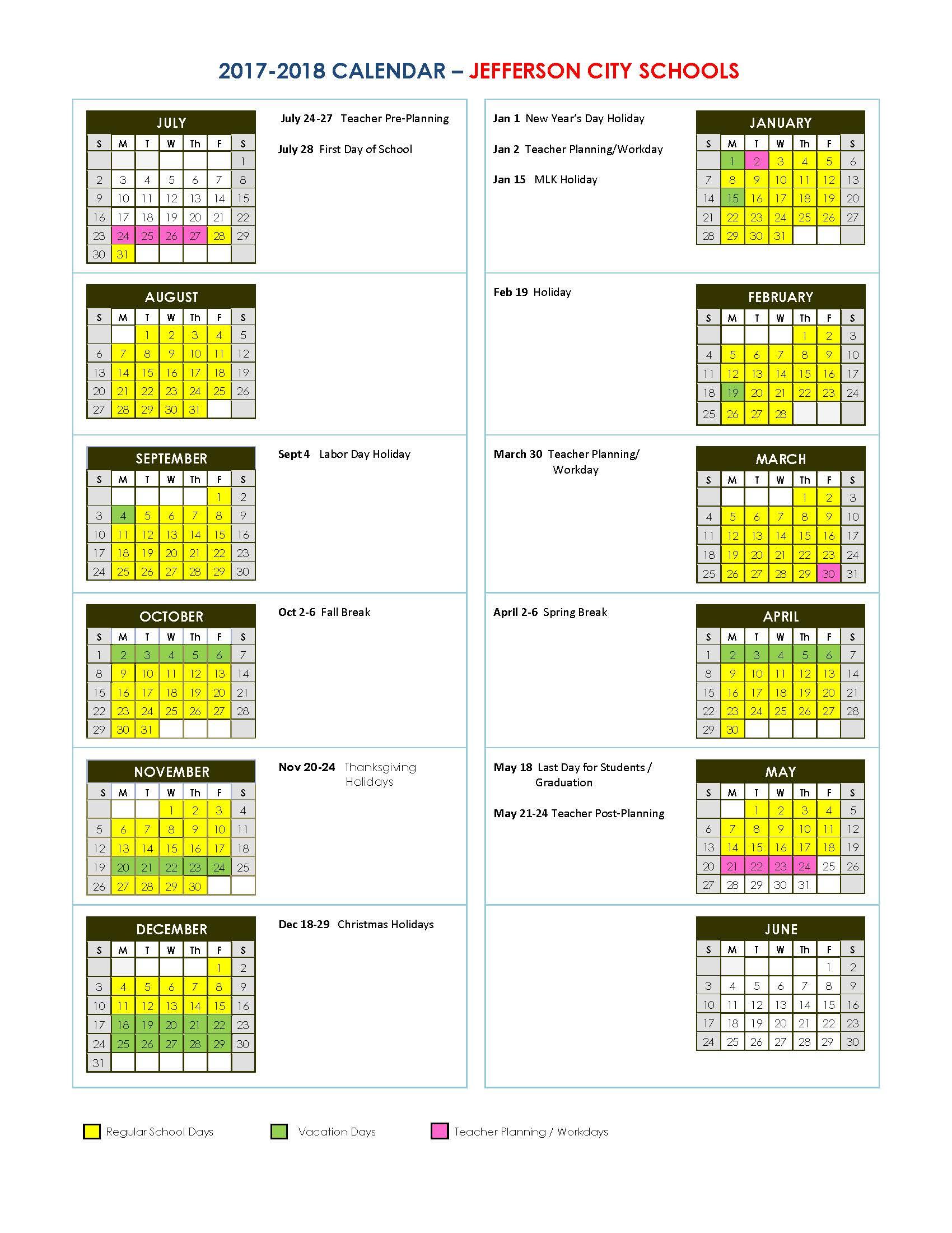 Jefferson City Schools Throughout Metro Nashville School Calendar 2021 20