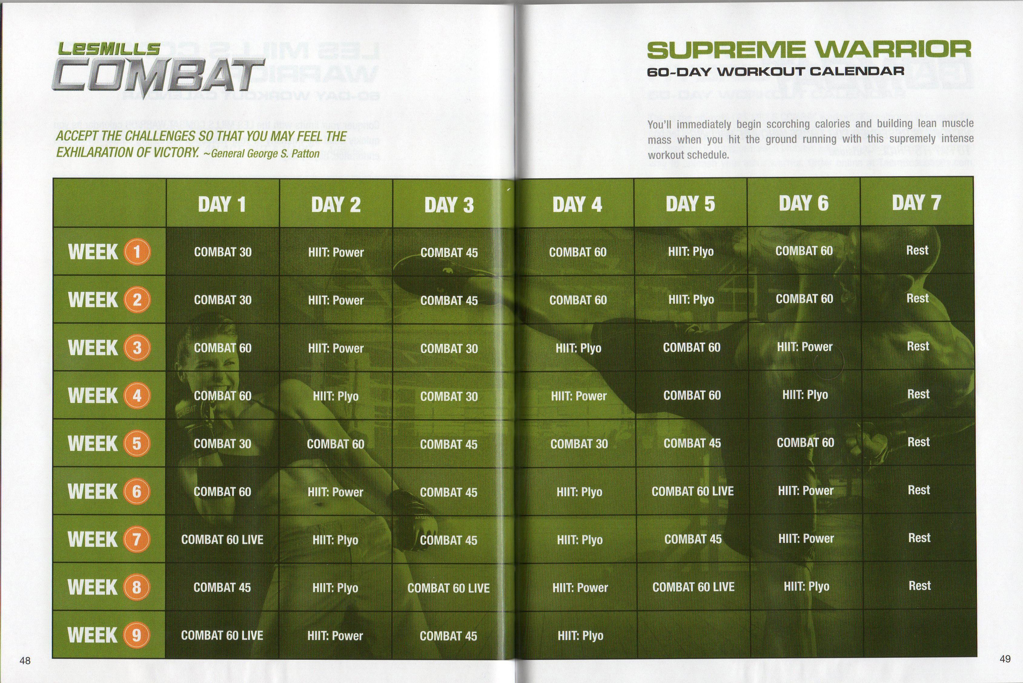 Les Mills Combat ~ 02 ~ 60 Day Supreme Warrior Calendar Regarding 90 Day Supreme Workout Calendar