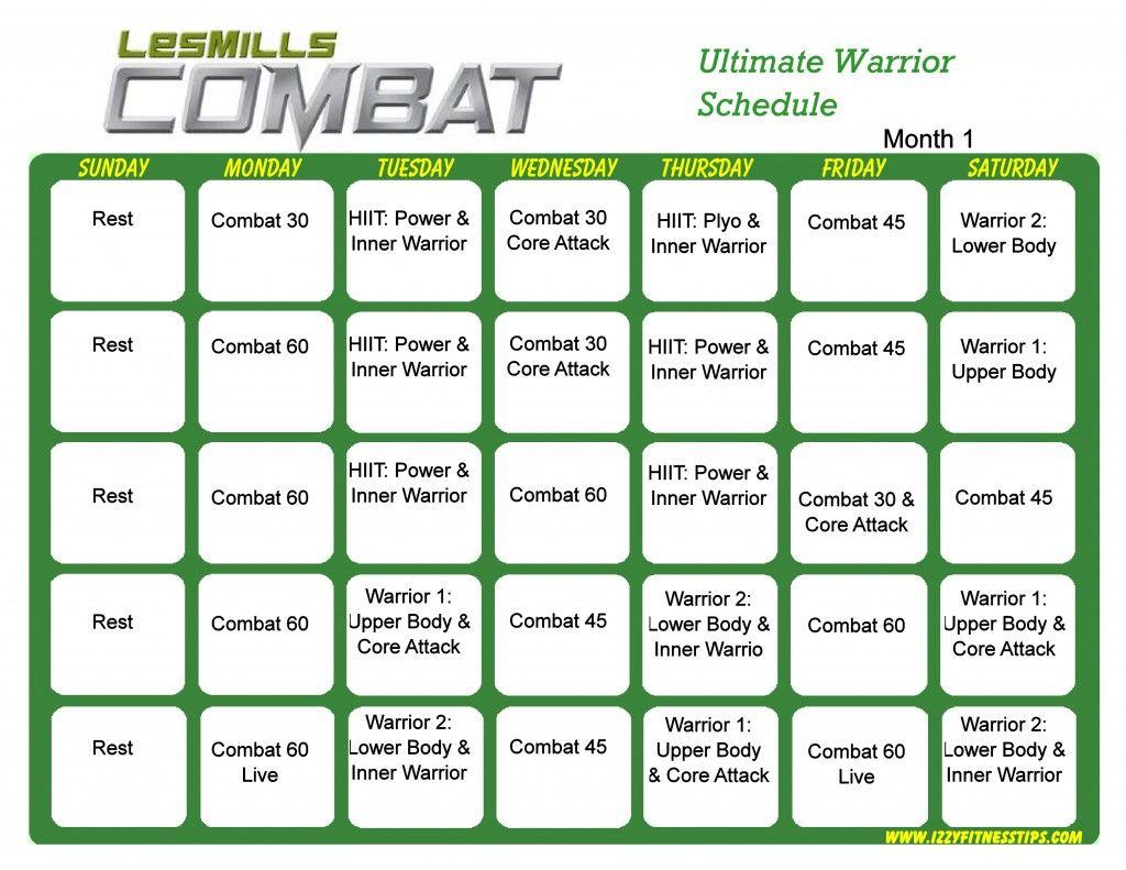 Les Mills Combat Workout Calendar | Workout Calendar, Hip For Les Mills Combat Ultimate Warrior Schedule