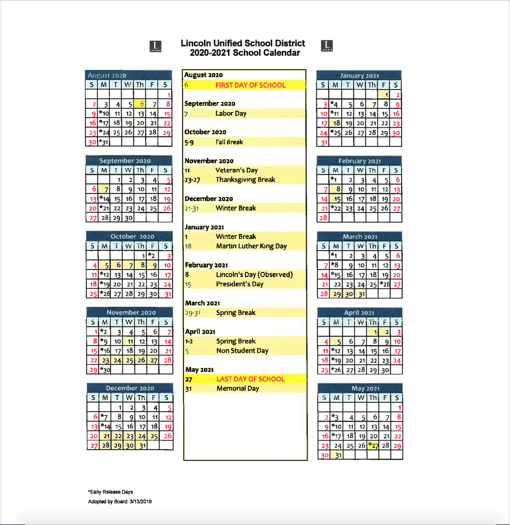 Lincoln Unified School District With Regard To San Leandro High School 2014 Calendar
