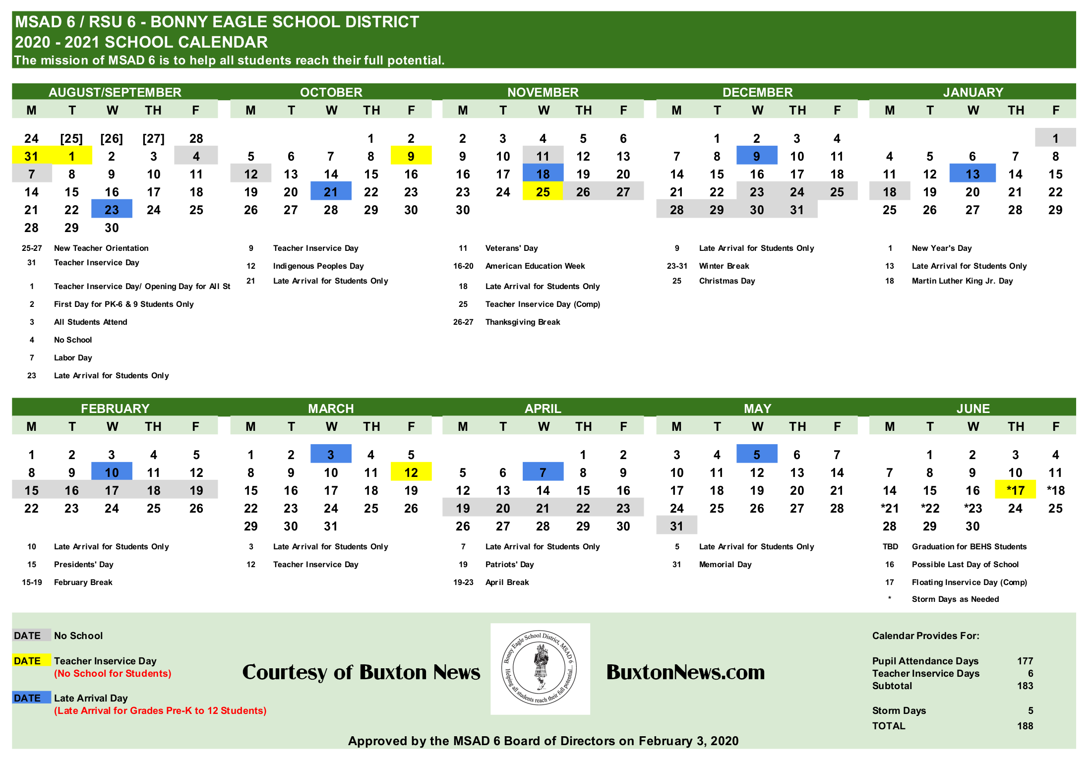 Maine School Administrative District #6 Bonny Eagle – Buxton With Regard To Lex Dist 1 Calendar