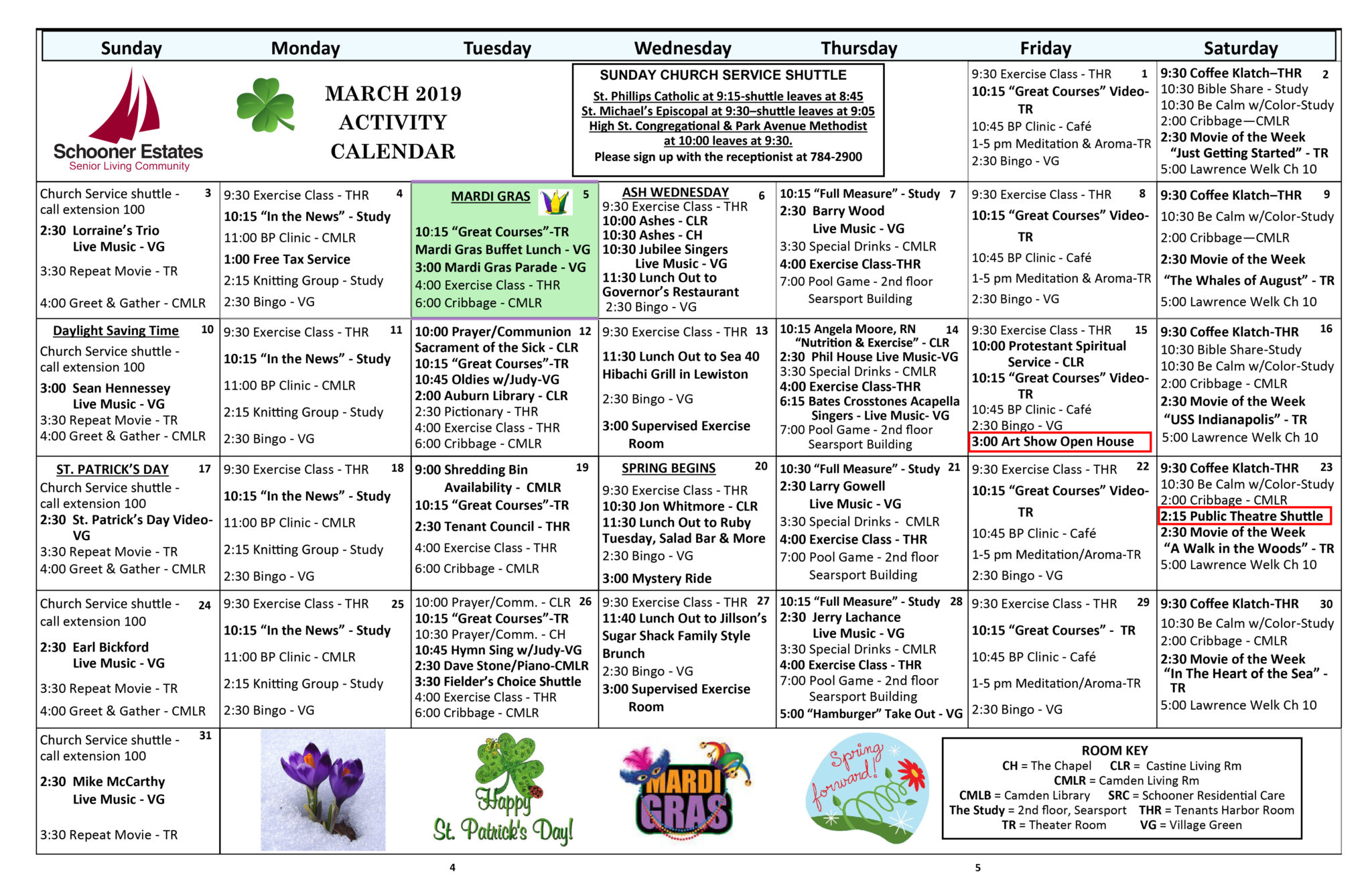 March 2019 Schooner Estates Activity Calendars Within Activity Calendar For Assisted Living