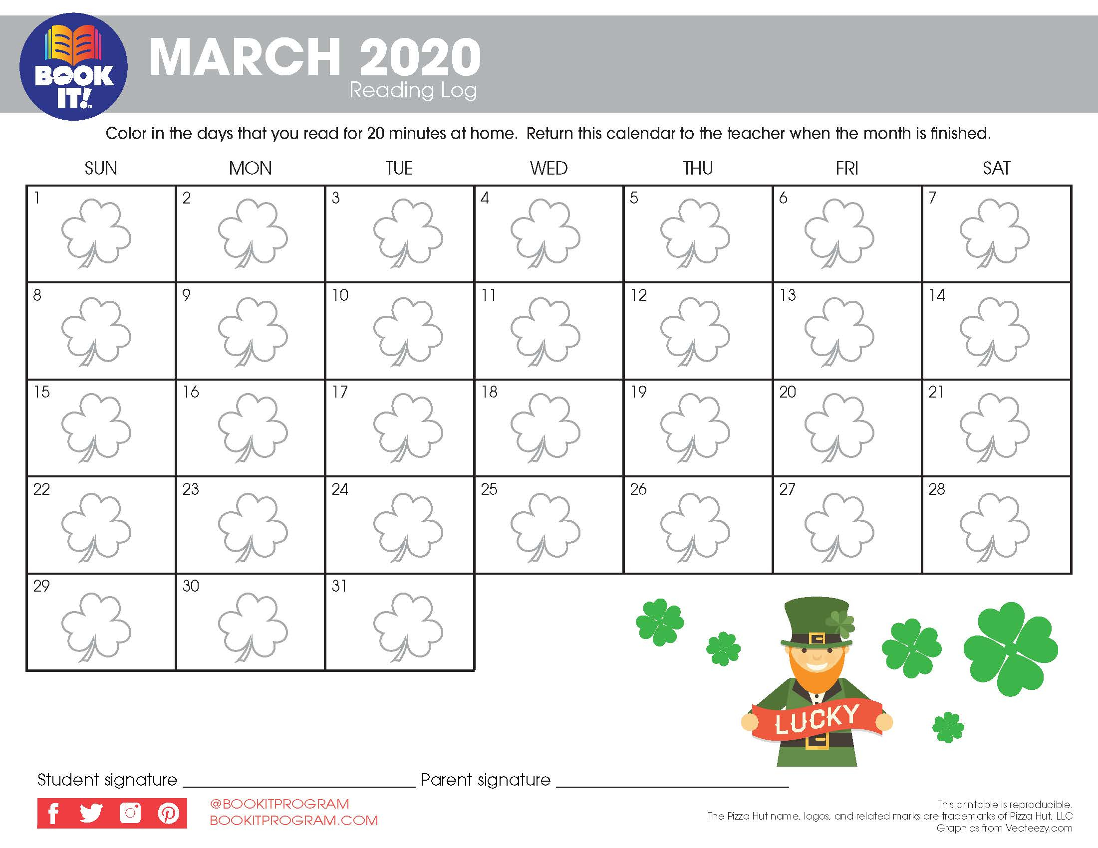 March Tracking Calendar Holiday | The Pizza Hut Book It! Program Within Pizza Hut Book It Calendar