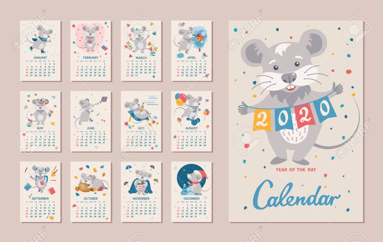 Monthly Calendar. Rat Is A Symbol Of The 2020 Chinese New Year Regarding Printable Chinese Calendar Shwing Year Of Different Animals