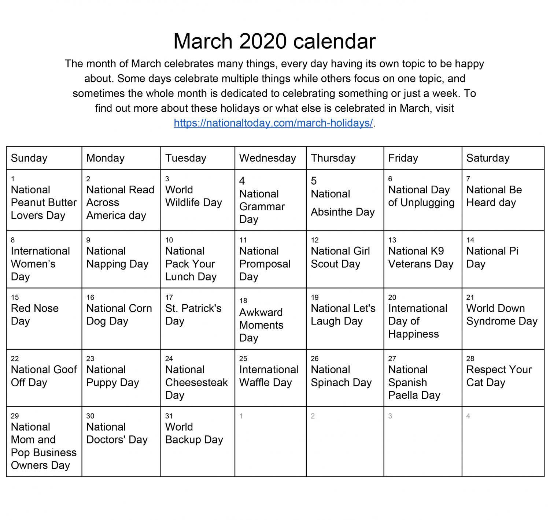 National Celebrations Calendar  March – Lhstoday Regarding Fort Zumwalt Academic Calendar