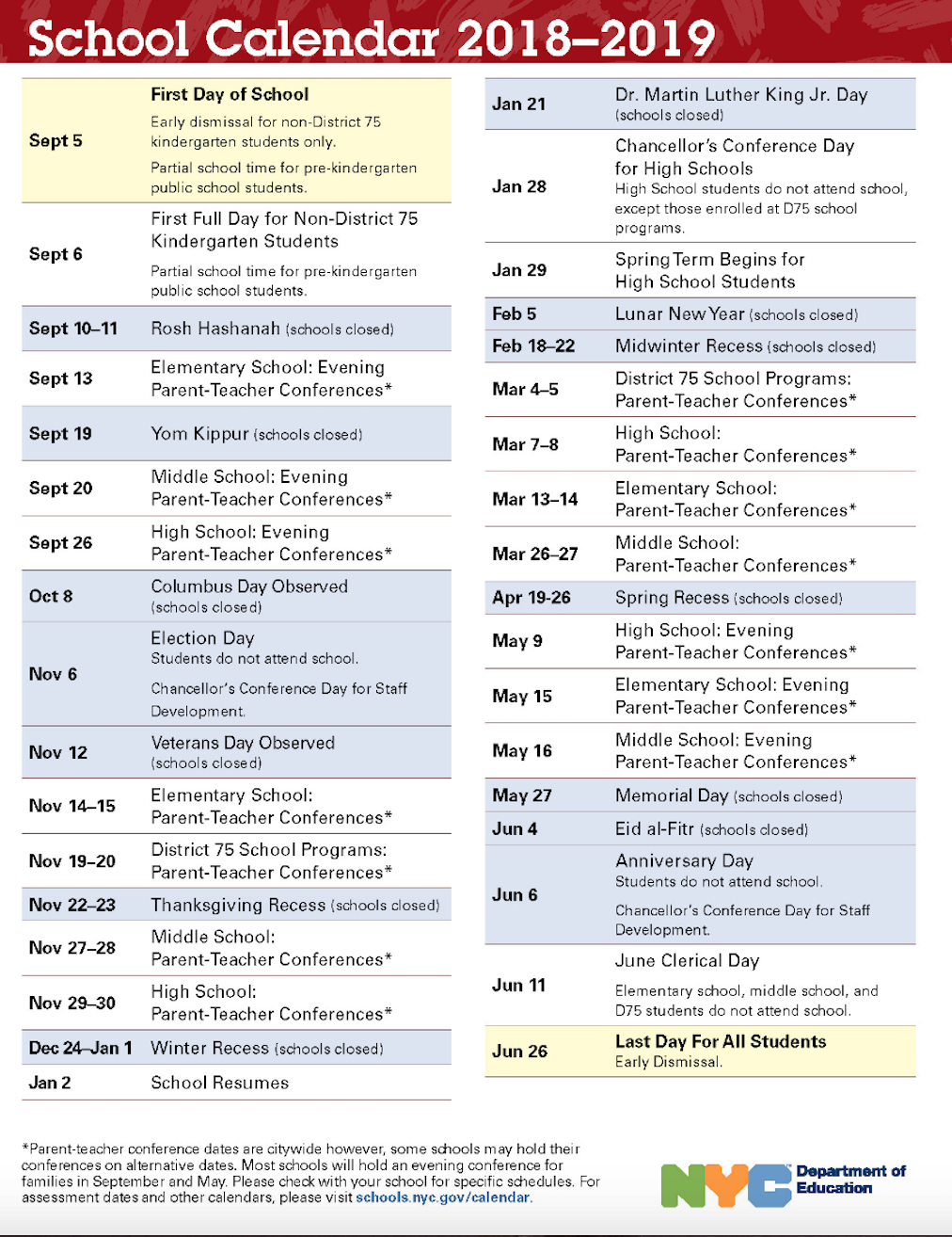 Nyc Doe 2018 2019 School Calendar | Ps 373R Robert Randall With Regard To Nyc Dept Of Ed Calendar