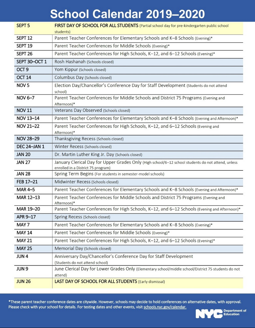 Nyc Doe 2019-2020 School Calendar | Ps 373R Robert Randall for Nyc Dept Of Ed Calendar