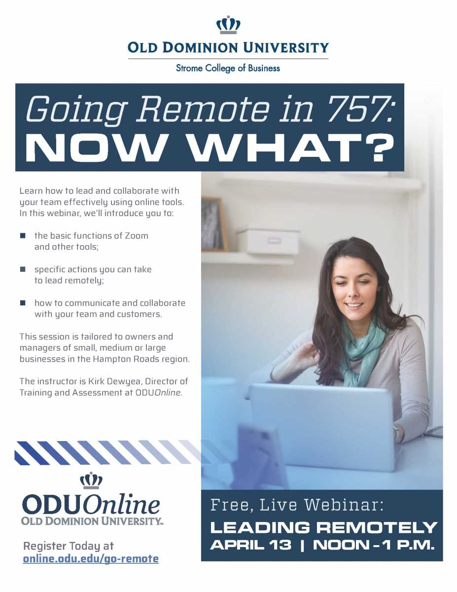 Odu Presents: Going Remote In The 757   Member News   News Within Old Dominion University Calendar 2021