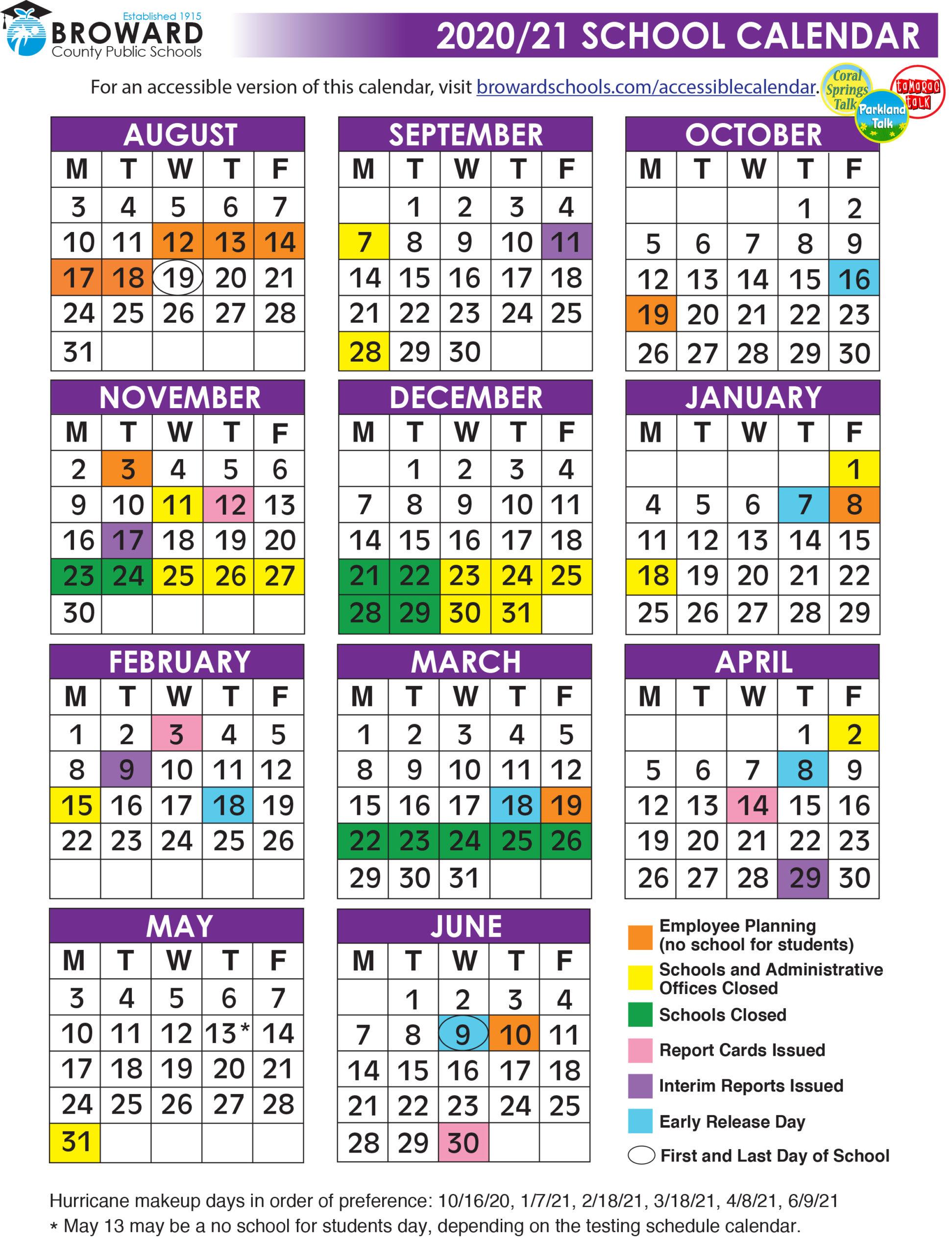 Official 2020/21 Broward County Public Schools Color For Port St Lucie School District Calendar