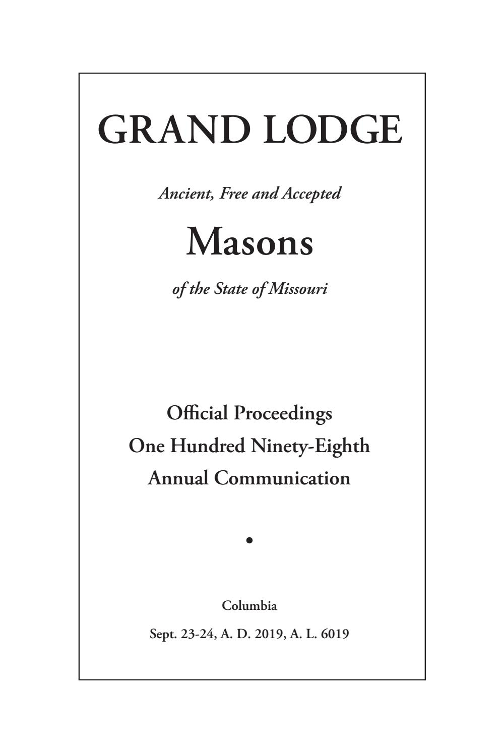 Official Proceedings - Grand Lodge Mo Annual Communication throughout El Monte Union First Day Of School 2021-18 Calendar