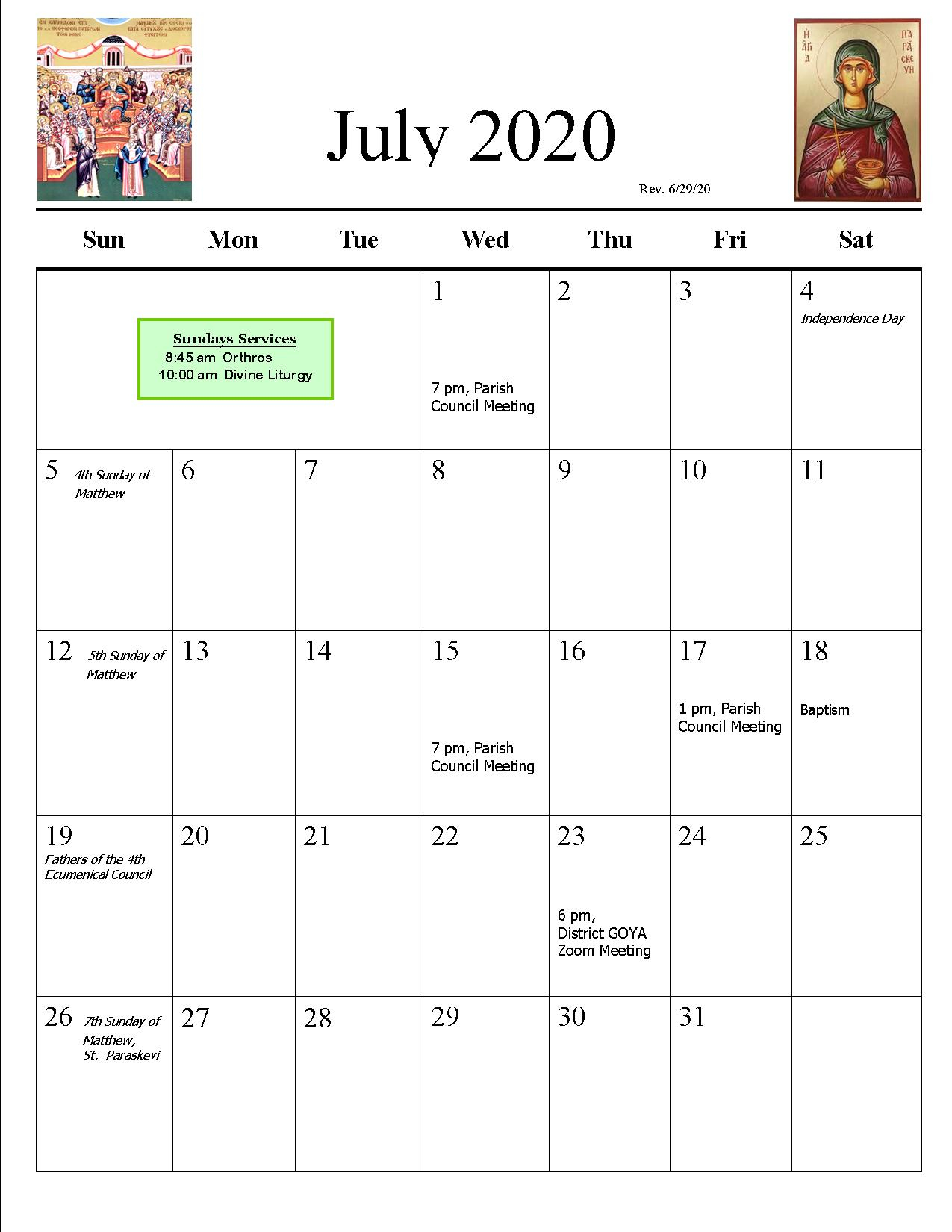 Parish Calendar | St. Catherine Greek Orthodox Church For San Rafael School District Calendar