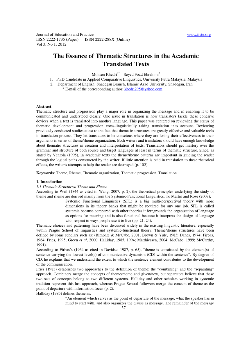 Pdf) The Essence Of Thematic Structures In The Academic Pertaining To Thematically Read The Bible In A Year