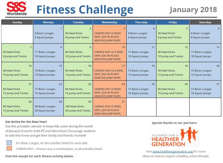 Printable Fitness Challenge Calendar For Kids - Keeping within Fitness Challenge Calendars For Students Pdf