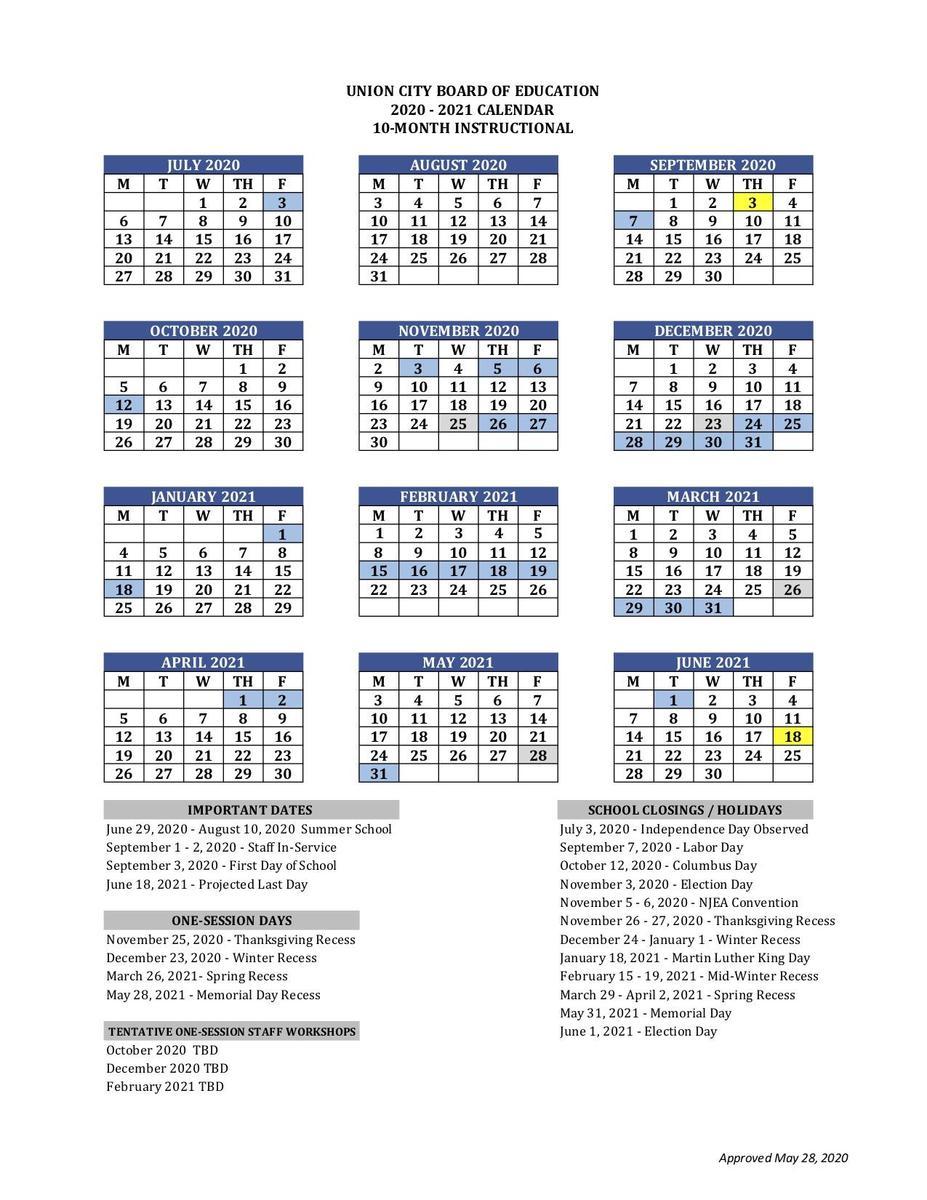 Printable School Calendar - Basics - Union City Public Schools within Academy 1 Jersey City Public School Calendar