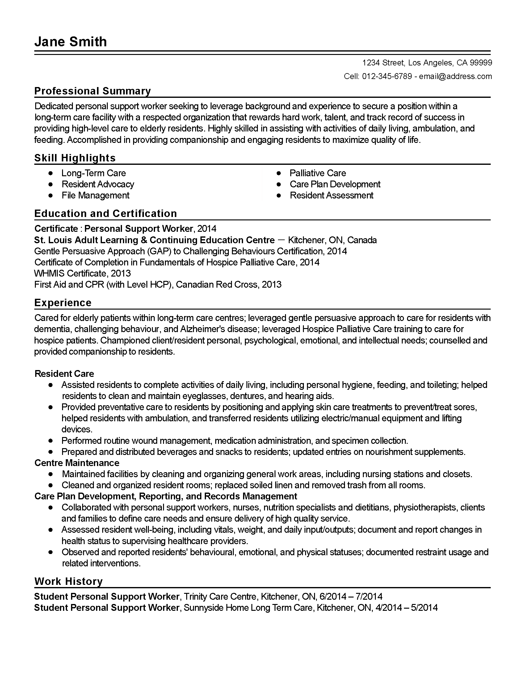 Professional Personal Support Worker Templates To Showcase Regarding Assisted Living Rules And Regulations Template