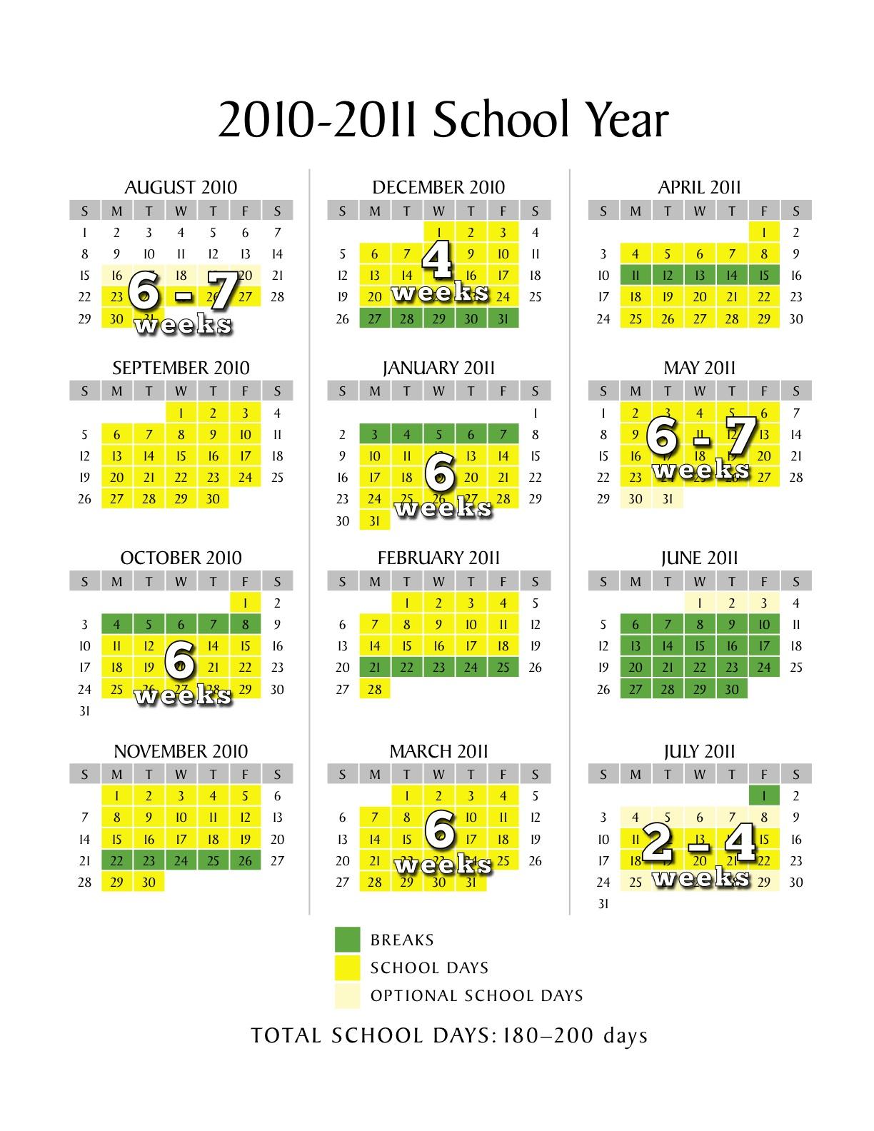 Scheduling A Low Stress School Calendar Inside Year Round School Schedule Sample
