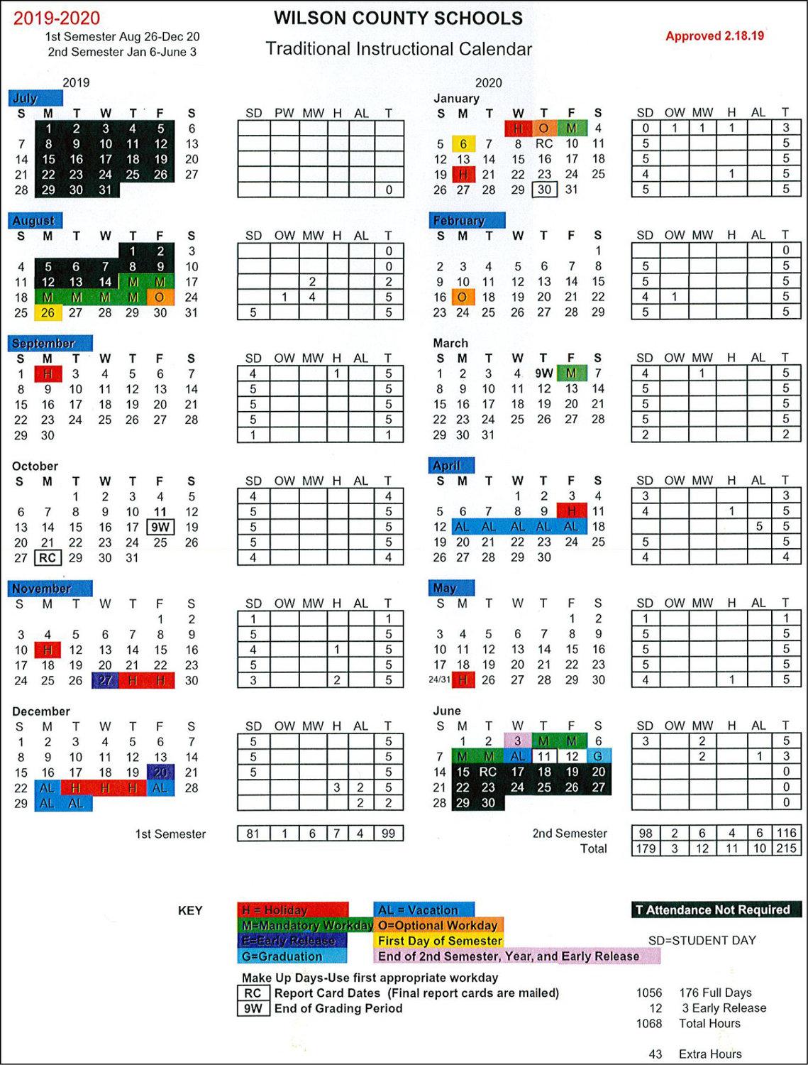 School Board Approves 2019 20 Calendars | The Wilson Times Throughout Wilson Nc Schoold Calendar