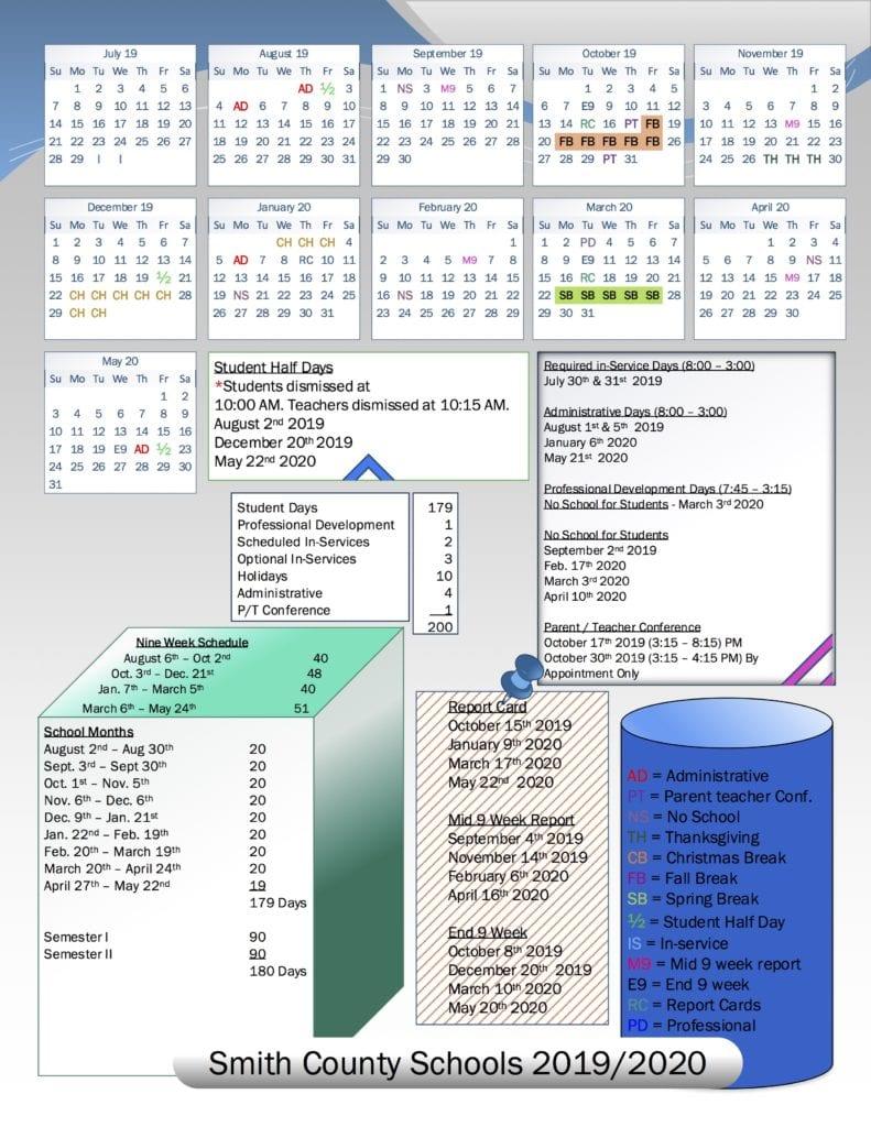 School Board Approves 2019/2020 School Calendar   Smith In Bedford County Tn School Calendar 2021