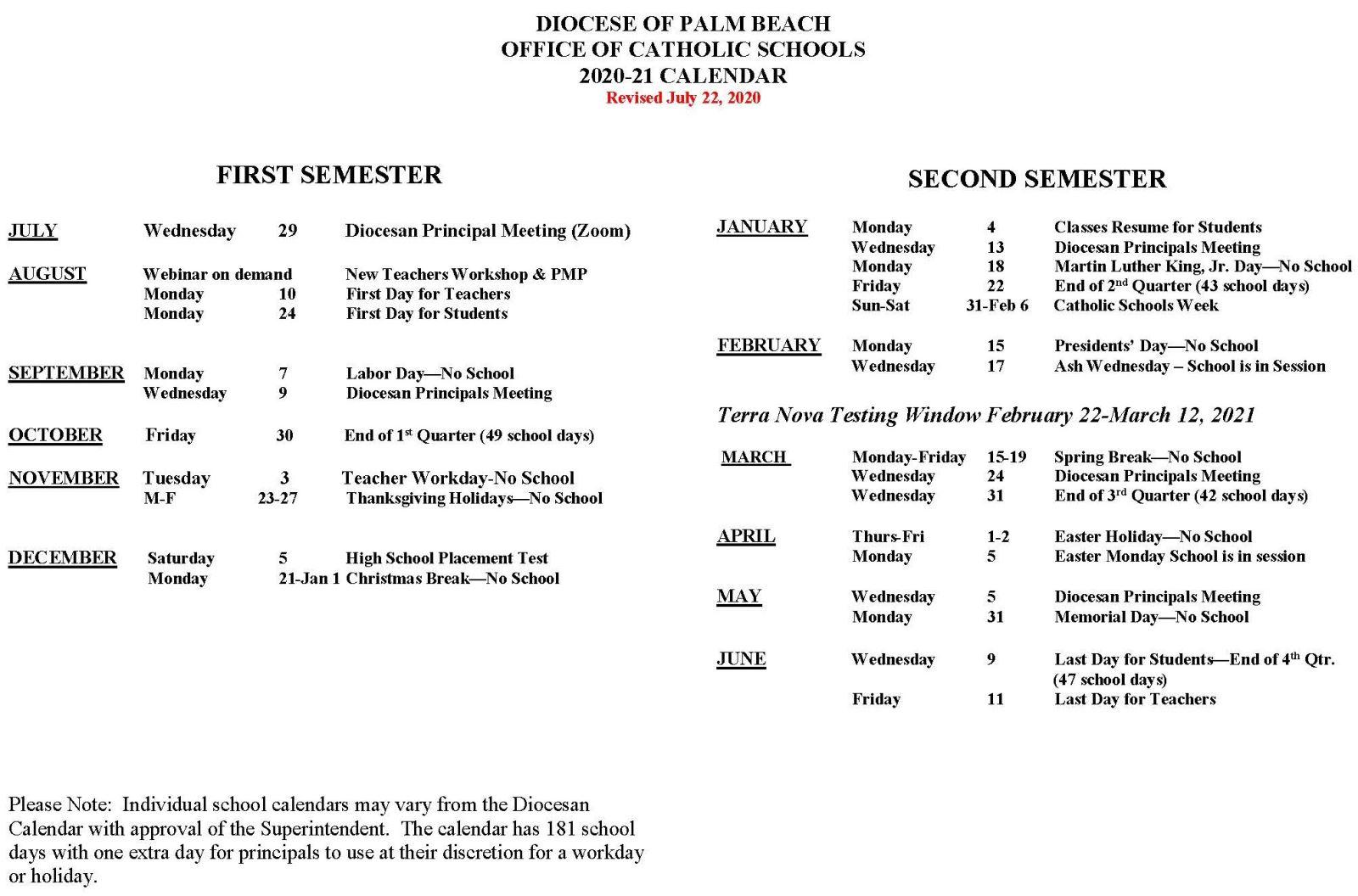 School Calendar | Diocese Of Palm Beach Catholic Schools Regarding Palm Beach State College School Calendar