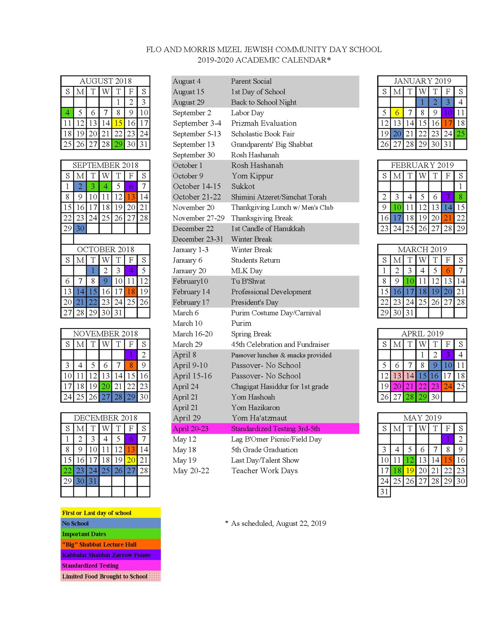 School Calendar - Mizel Jewish Community Day School For Academic Calendar 2021 Tulsa University
