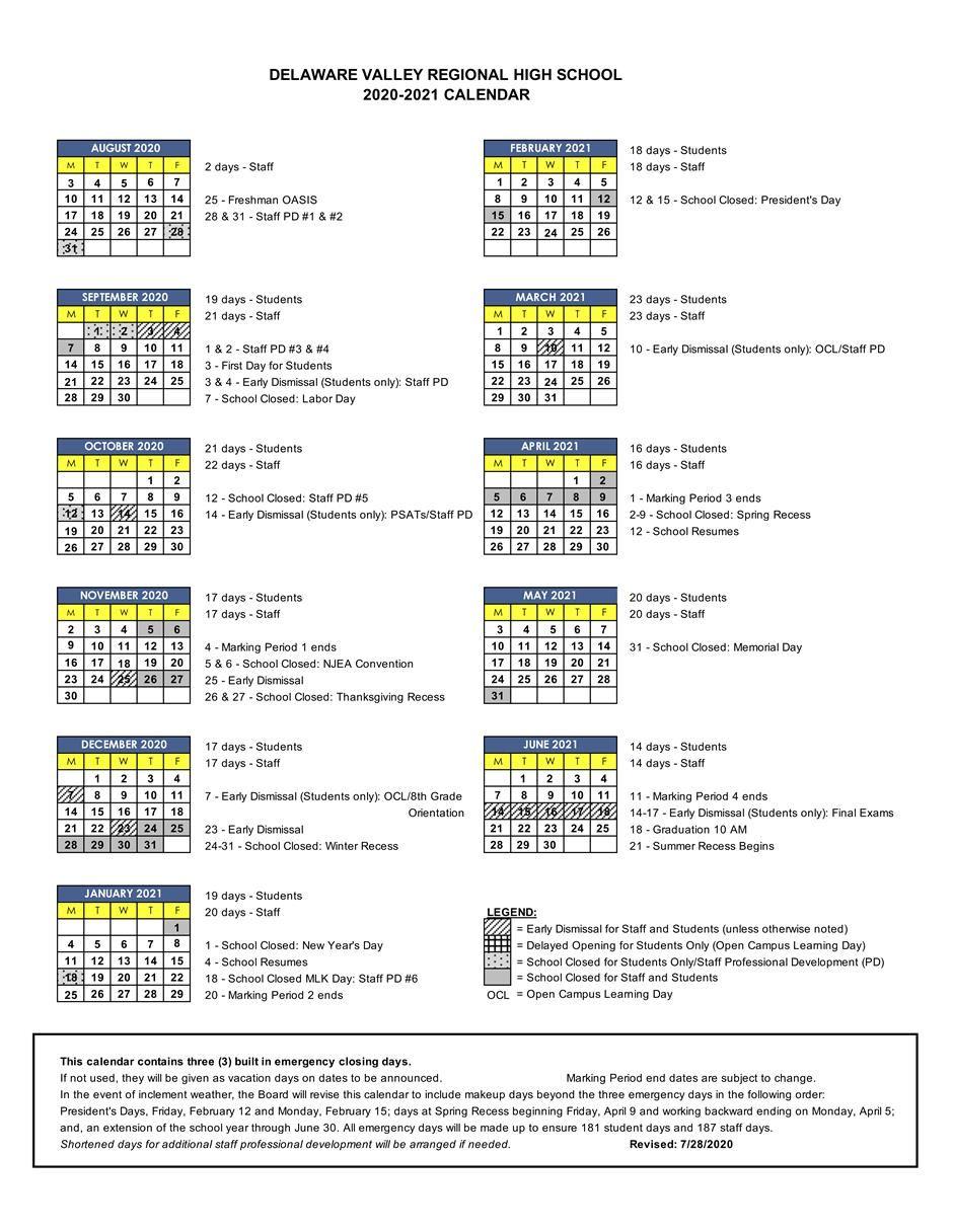 School Calendar / School Calendar 2020 2021 With Delaware County College Calendar 2020
