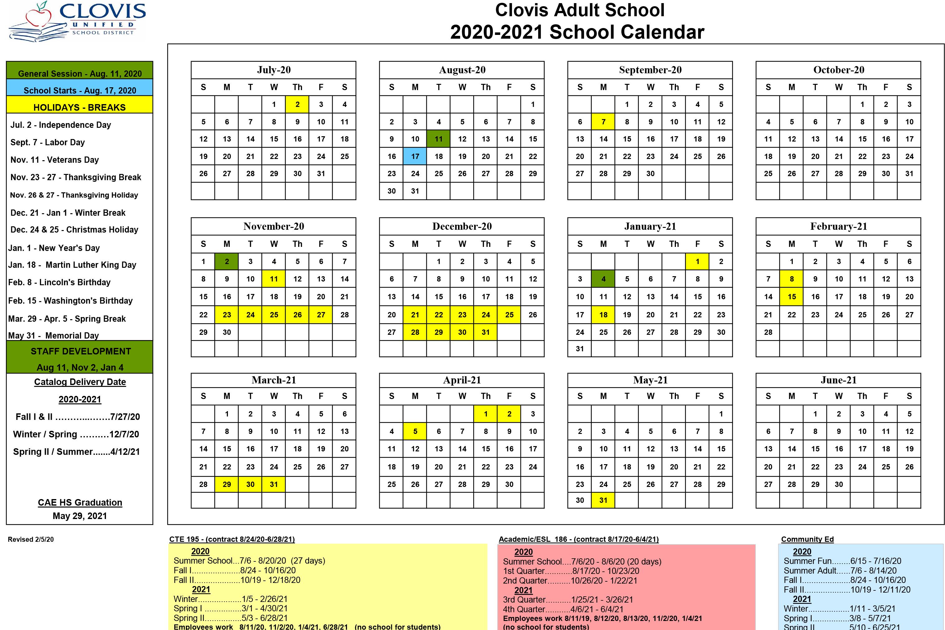 School Calendar With Regard To Fresno Unified Calendar 2021 2020