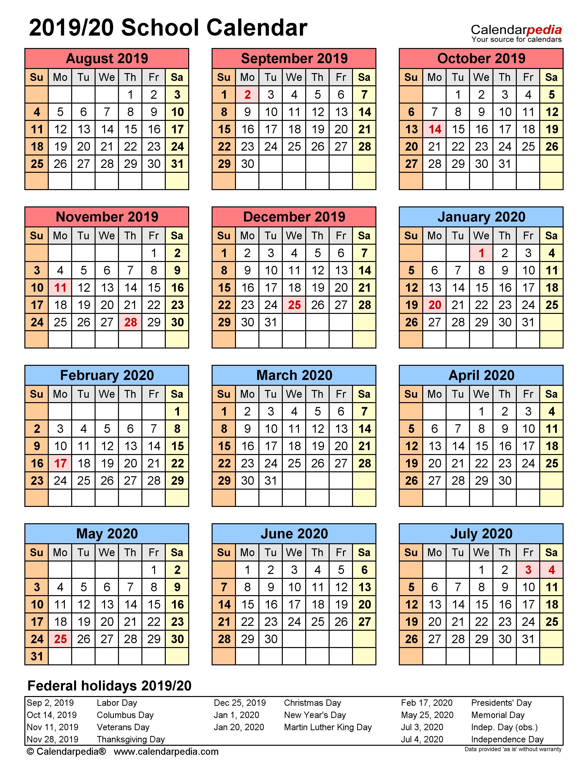 School Calendars 2019/2020 - Free Printable Excel Templates In Year Round School Schedule Sample