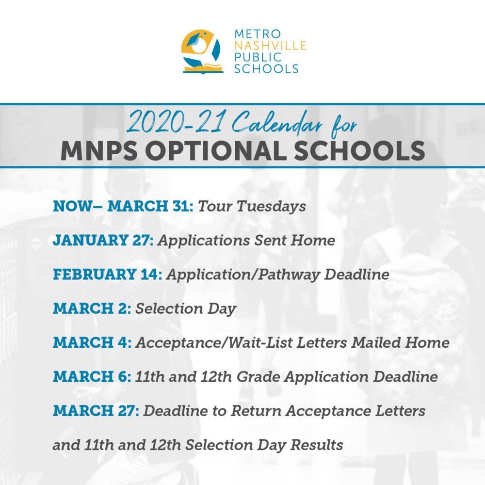 School Choice Applications For 2020 21 Open Monday, Jan. 27 Pertaining To Davidson County Tn School Calendar 2021 2020