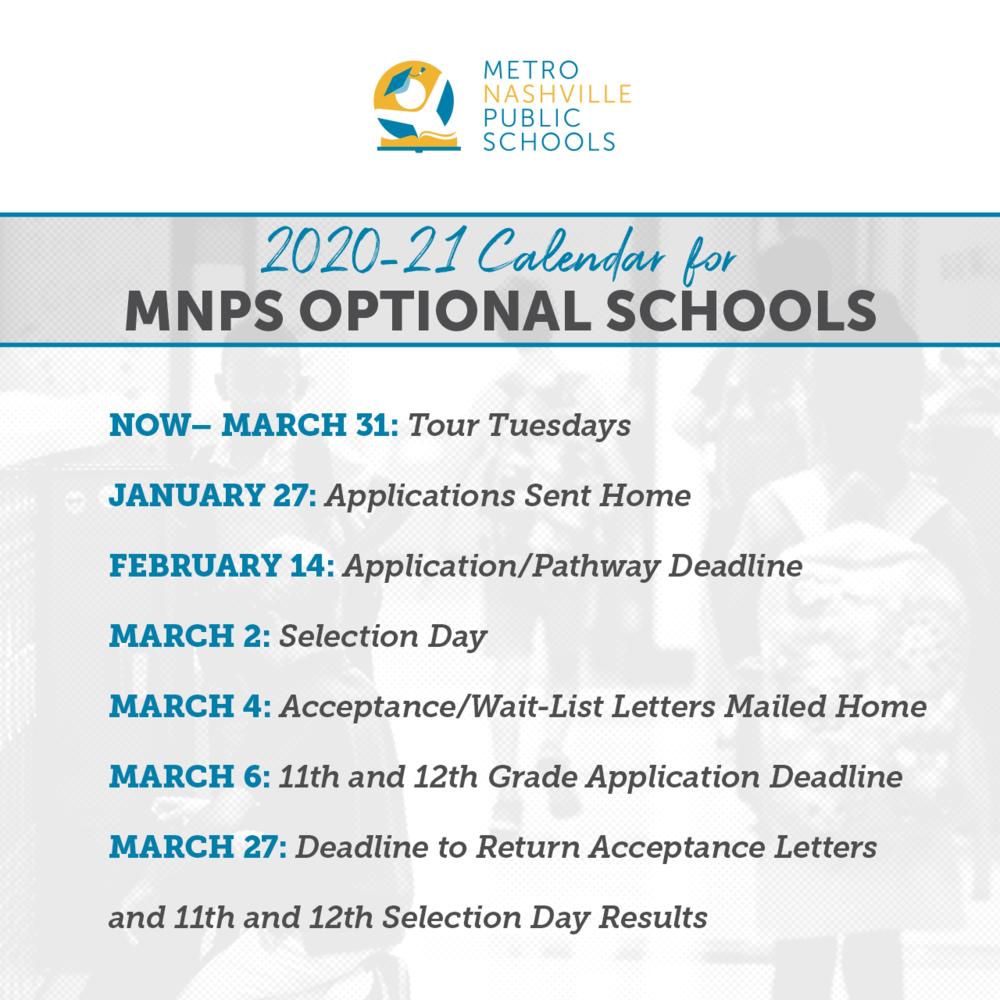 School Choice Applications For 2020 21 Open Monday, Jan. 27 Regarding Metro Nashville School Calendar 2021 20