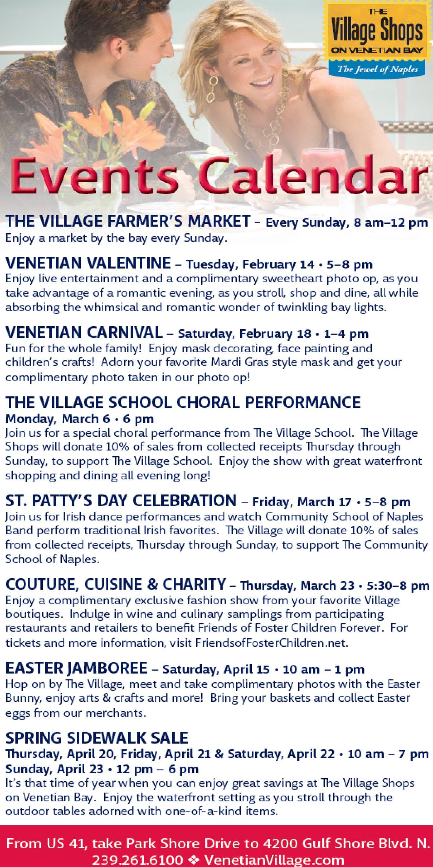Spring Calendar Of Events - The Village Shops intended for Calendar Of Events Naples Florida
