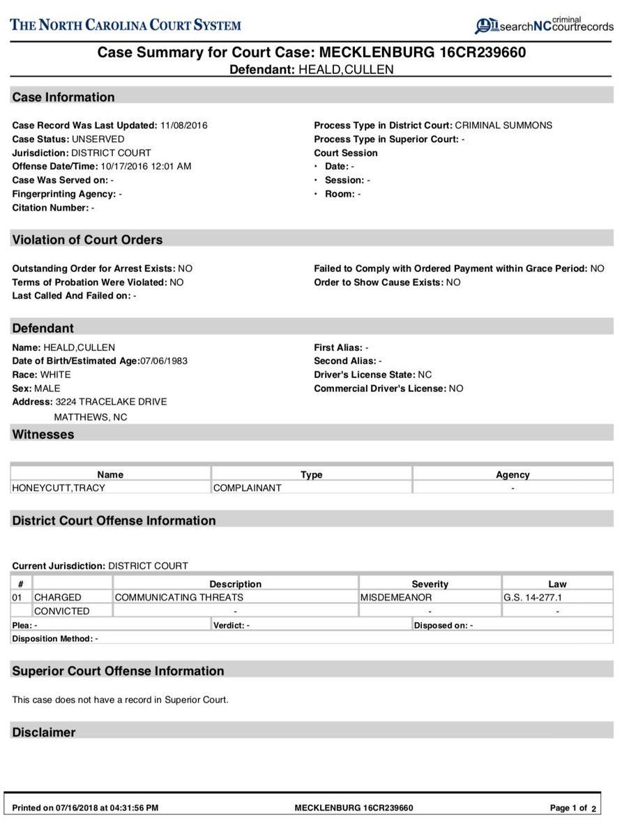 """T. Greg Doucette On Twitter: """"turns Out Cullen Heald Also In Nc Court By Defendant Name"""