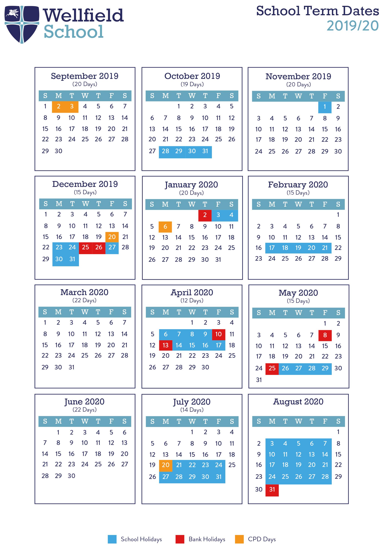 Term Dates 2019/20 - Wellfield School Pertaining To Durham County Schools School Calendar