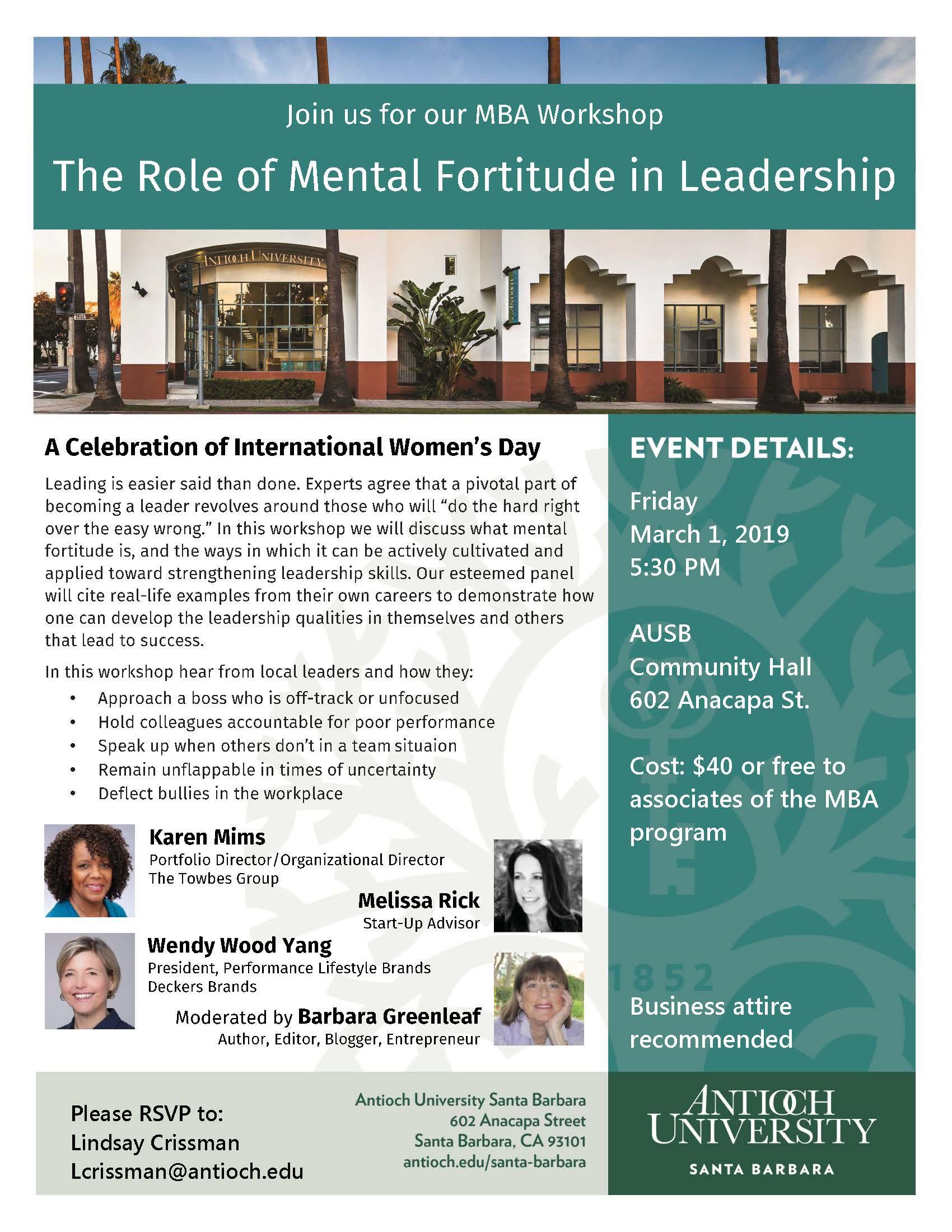 The Role Of Mental Fortitude In Leadership | Antioch Santa For University Of California Santa Barbara Academic Calender