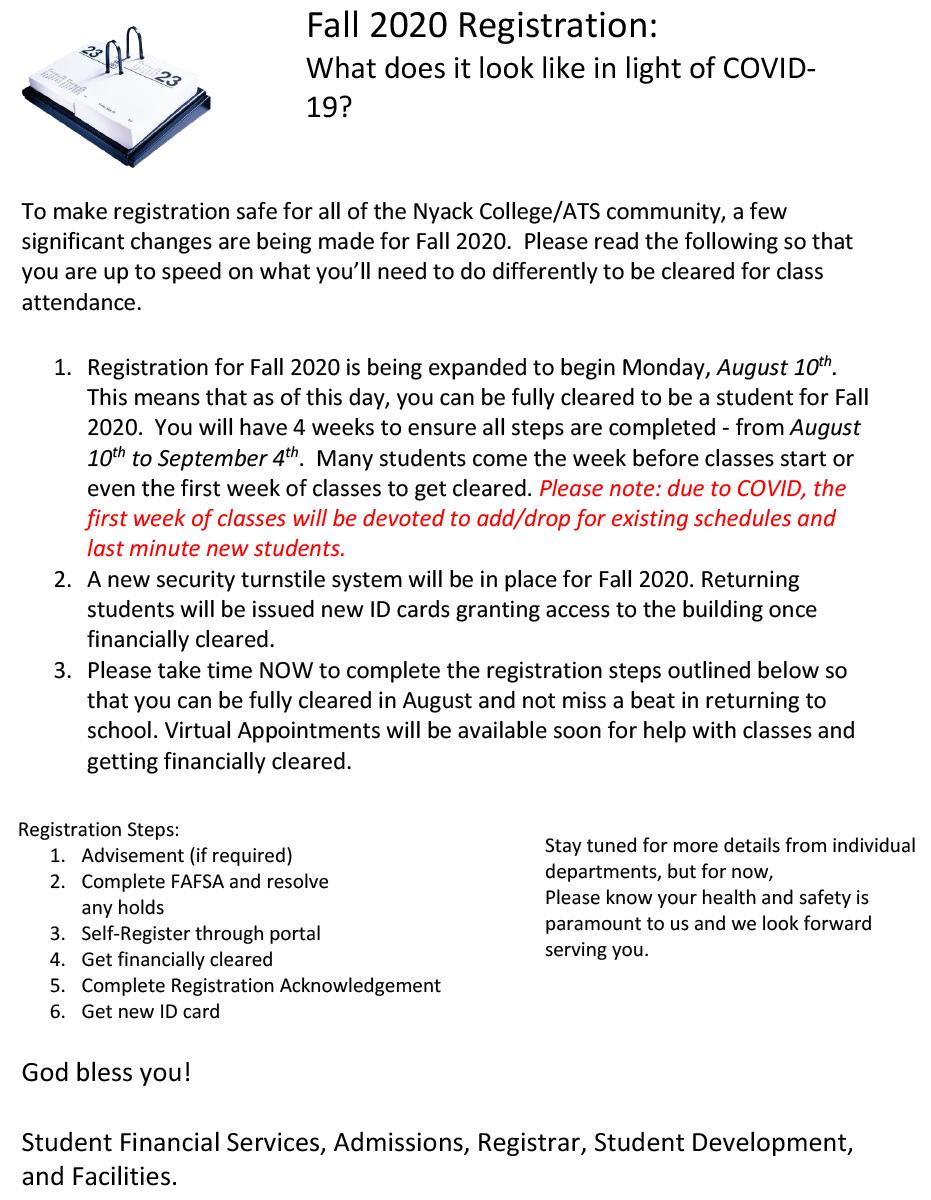 Undergraduate Registrar | Nyack College Pertaining To Nassau Community College Spring 2020 Student Calendar
