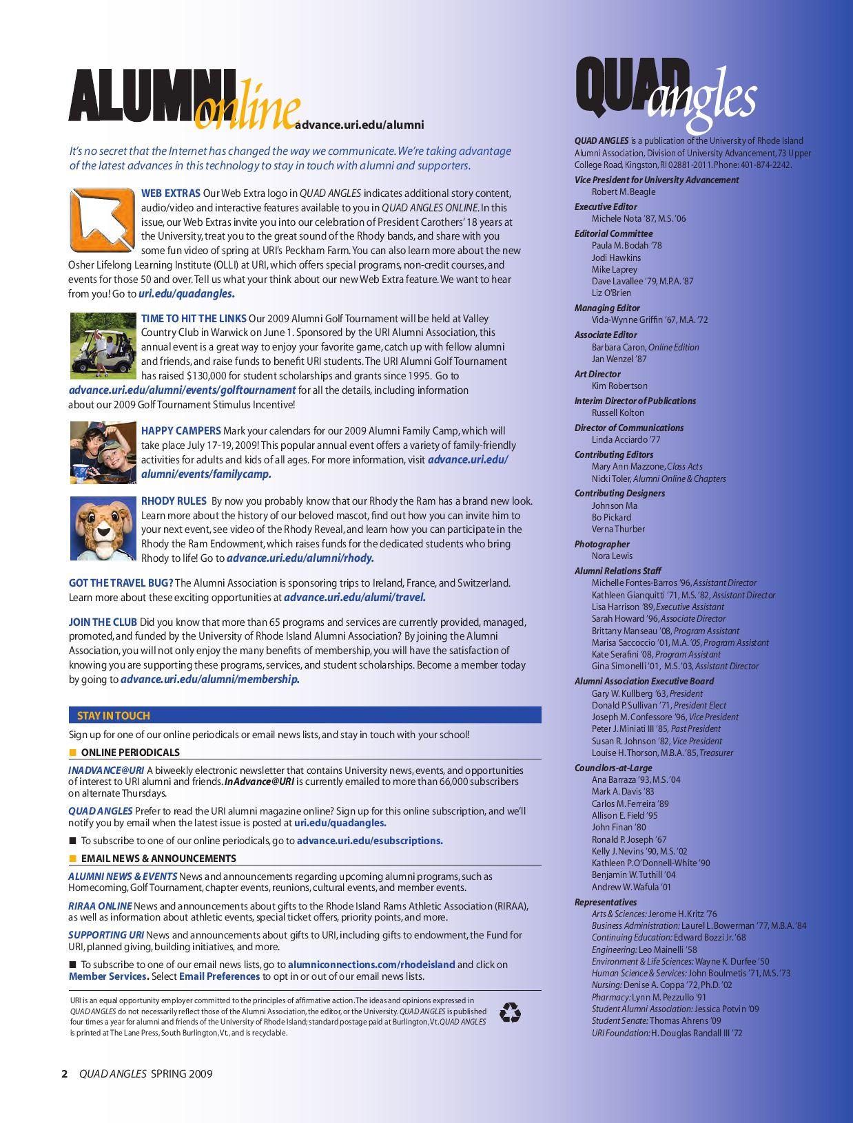 Uri Quadangles Spring 2009University Of Rhode Island – Issuu Inside University Of Rhode Island Calendar