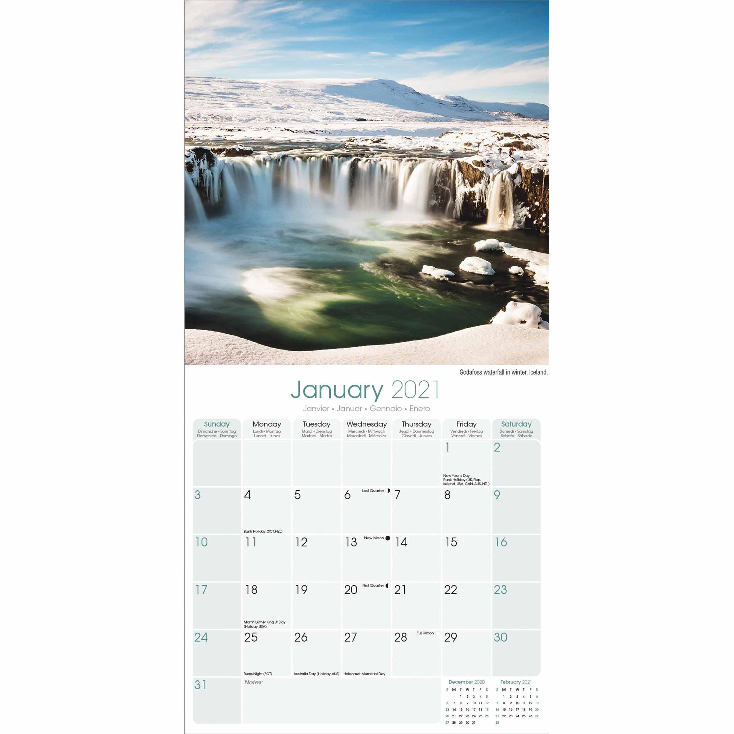 Waterfalls Calendar 2021 At Calendar Club In Niagara Falls School Calendar 2021