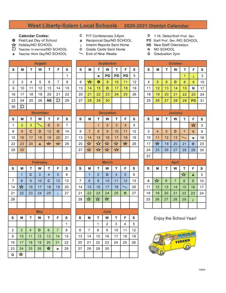 West Liberty Salem Local School District Regarding Davidson County Tn School Calendar 2021 2020