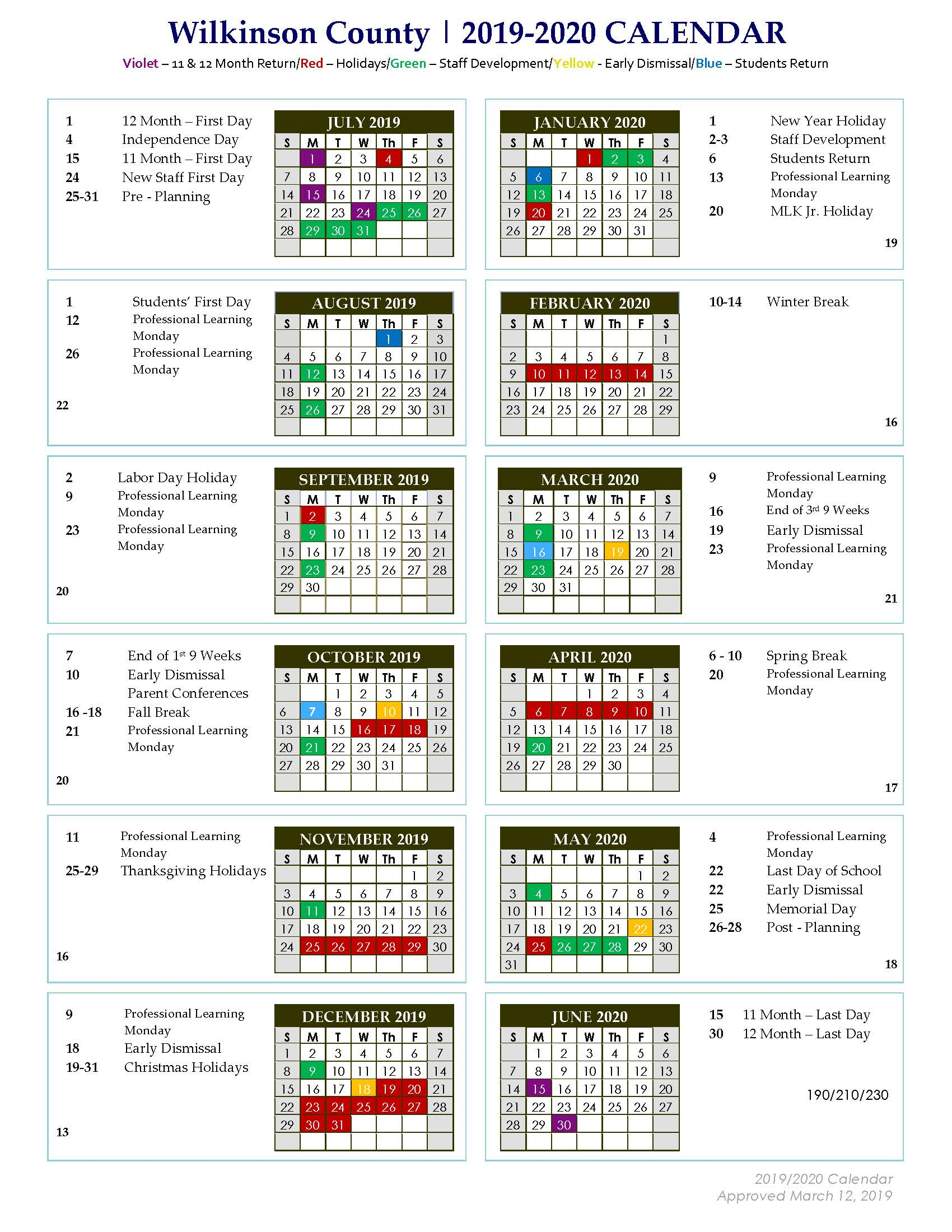 Wilkinson County Middle: 2019 - 2020 Approved District Calendar within Doe School Calnder 2015-2020