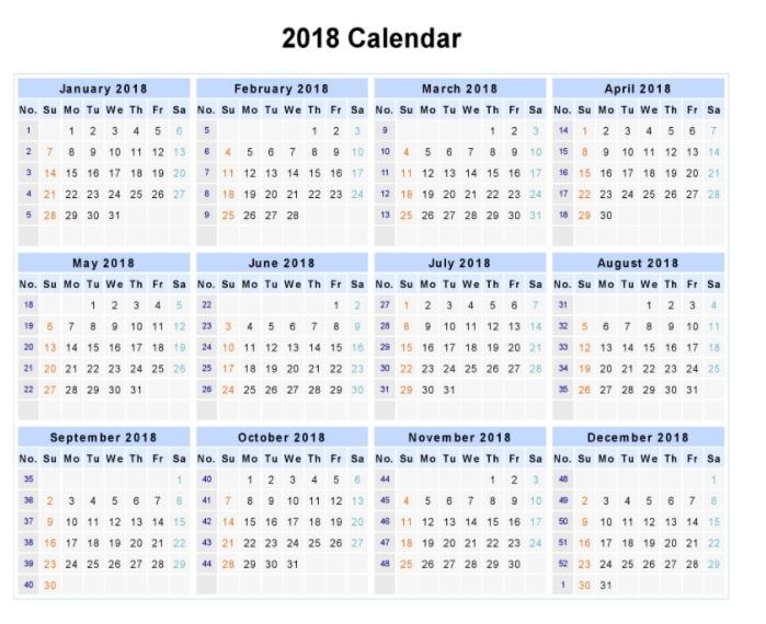 12 Month Calendar 2018 | Go Calendar Throughout Printable Twelve Month One Page Calendar